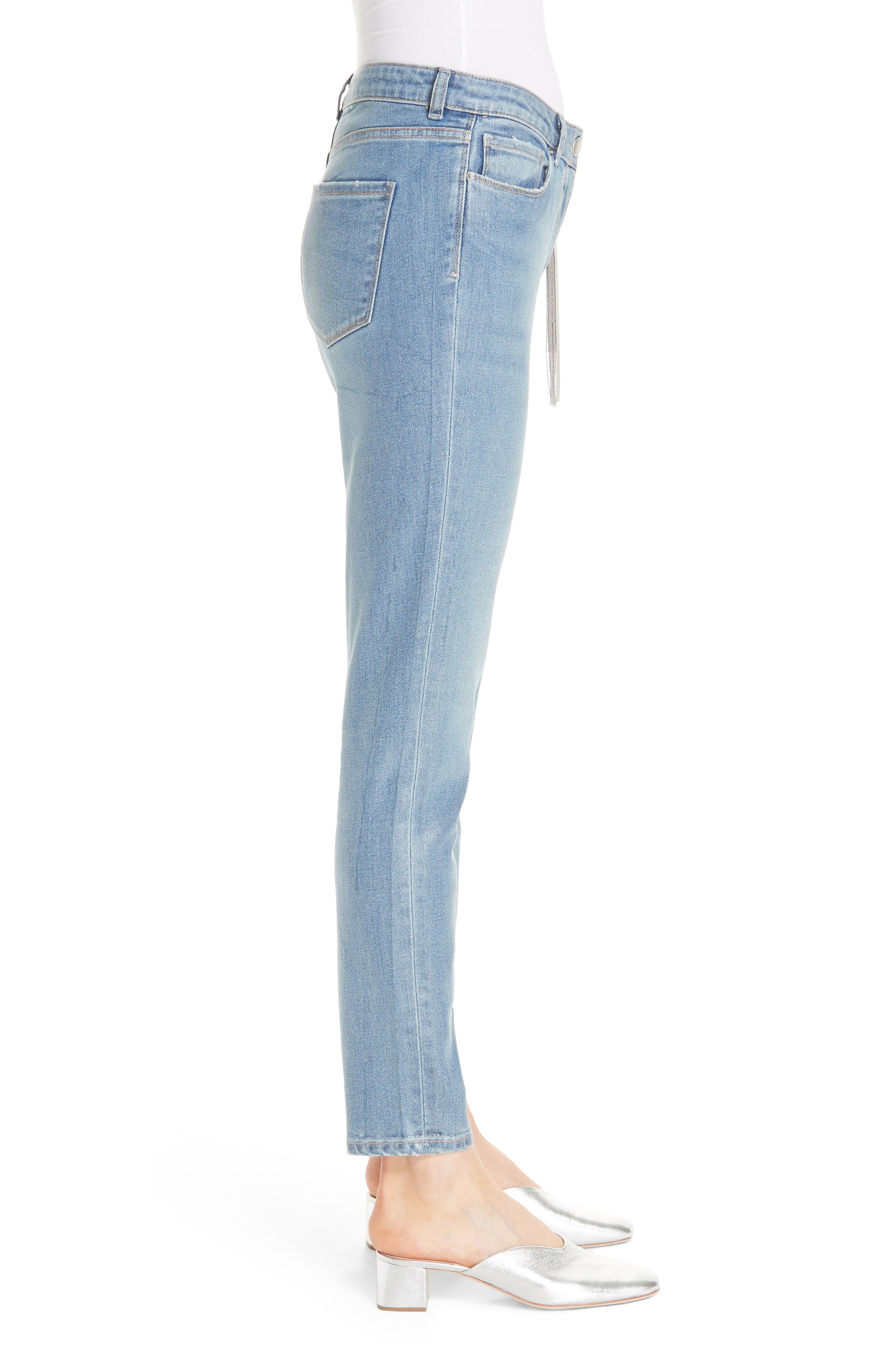 Coated Skinny Jeans with Tassel Charm,                             Alternate thumbnail 3, color,                             BLUE