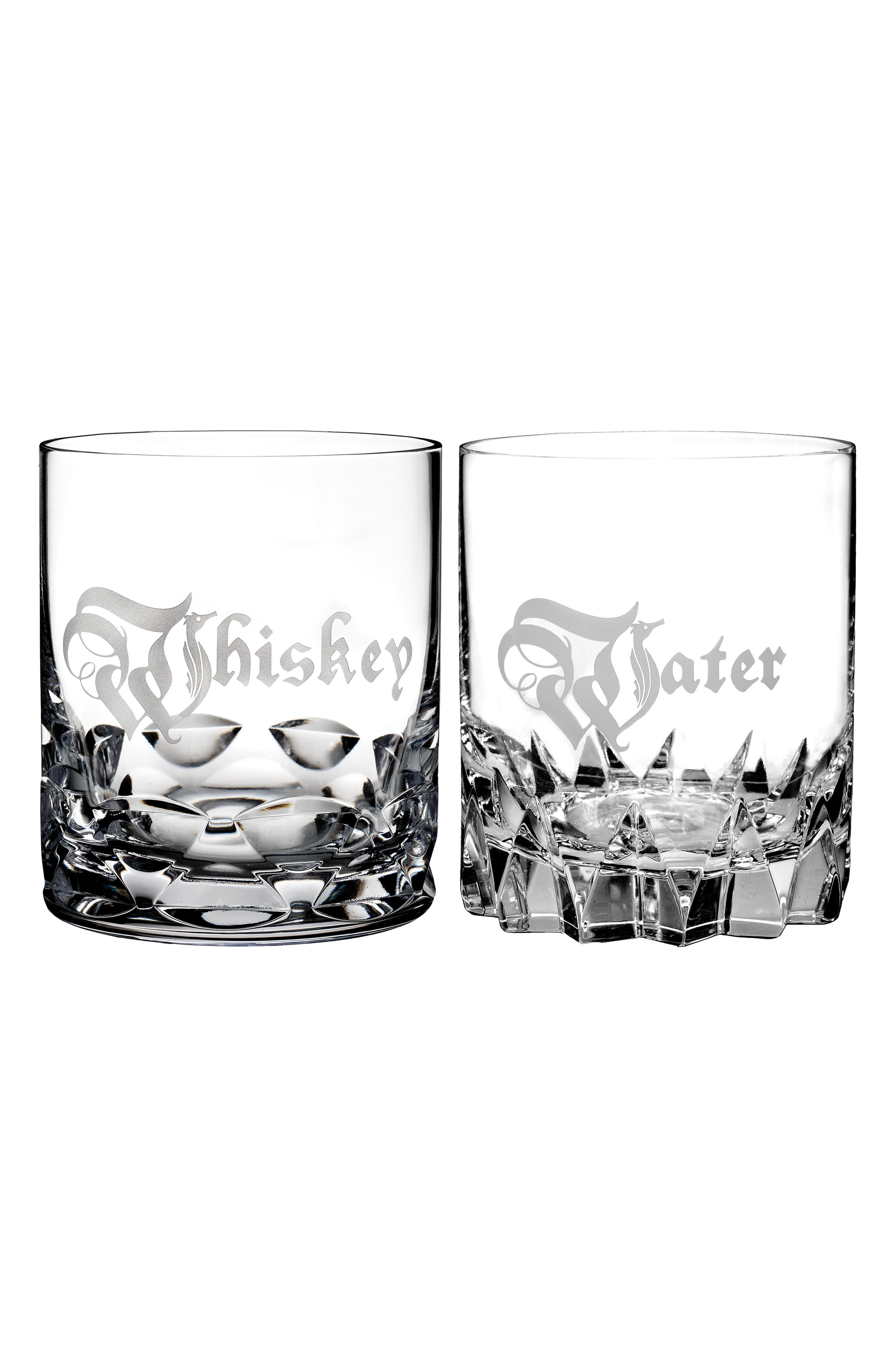 Short Stories Whiskey & Water Set of 2 Lead Crystal Double Old Fashioned Glasses,                             Main thumbnail 1, color,                             CRYSTAL