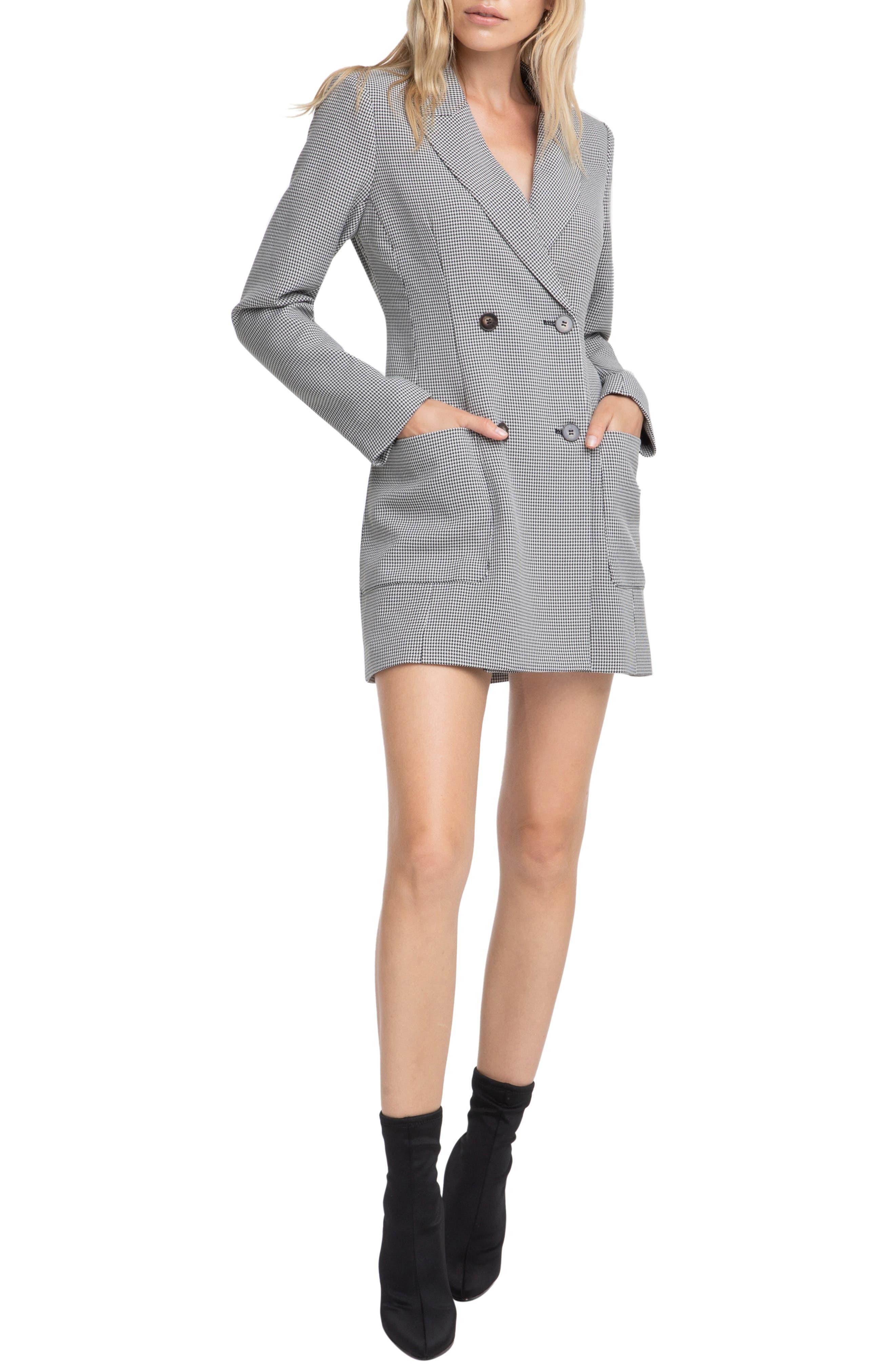 ASTR THE LABEL Houndstooth Blazer Dress, Main, color, BLACK/ WHITE