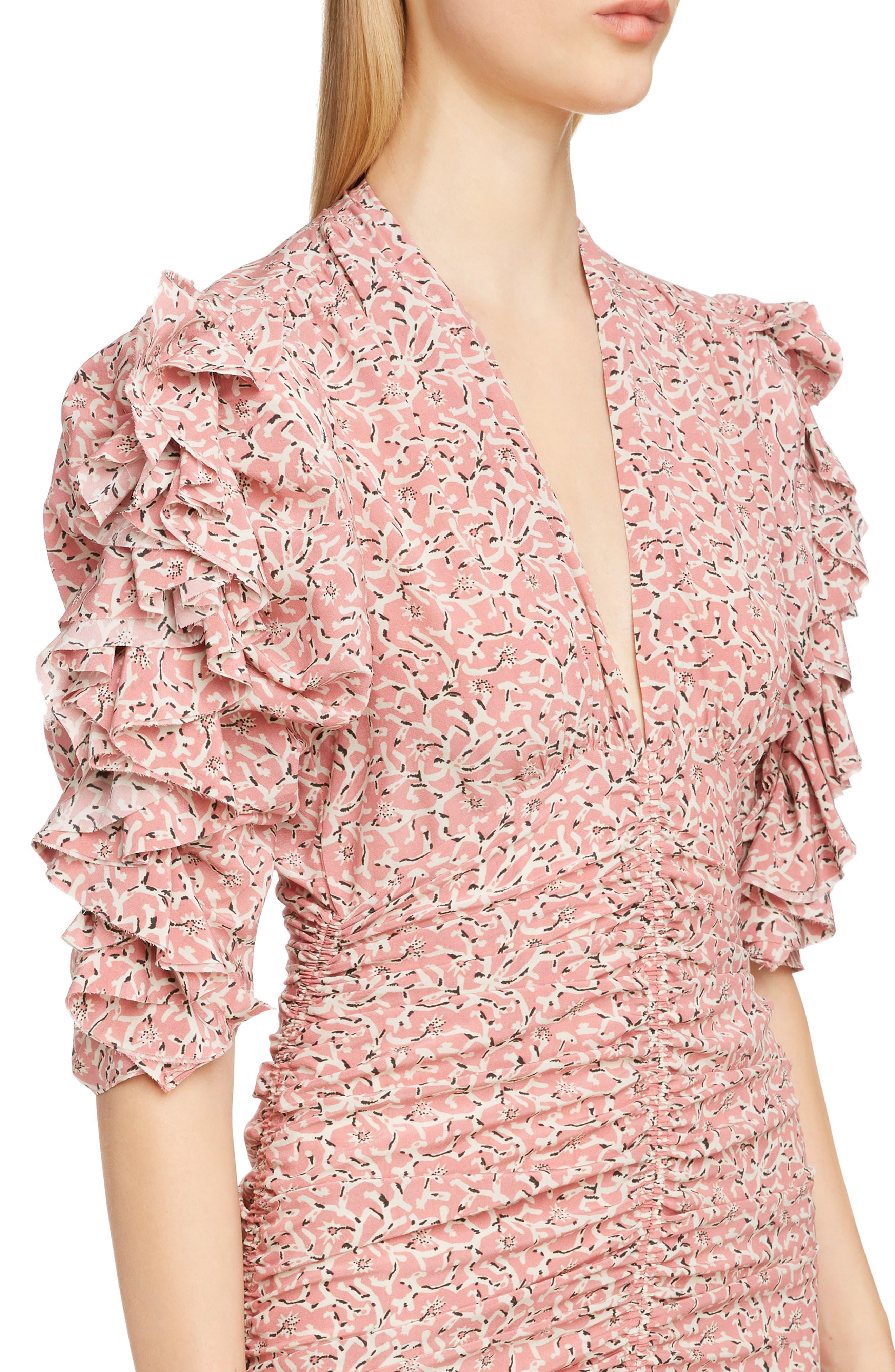 Print Silk Puff Sleeve Dress,                             Alternate thumbnail 4, color,                             650