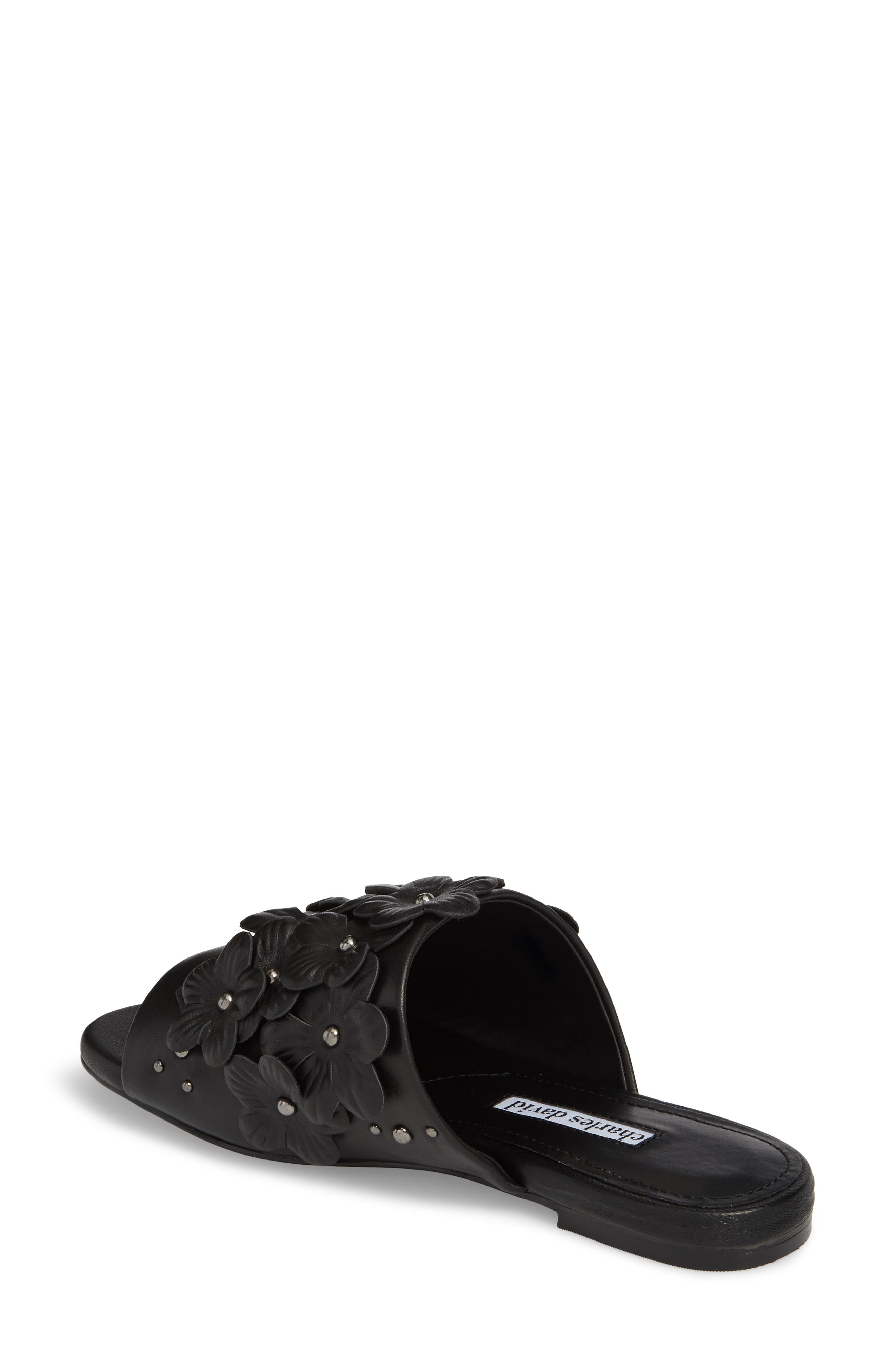 Sicilian Slide Sandal,                             Alternate thumbnail 2, color,                             BLACK LEATHER