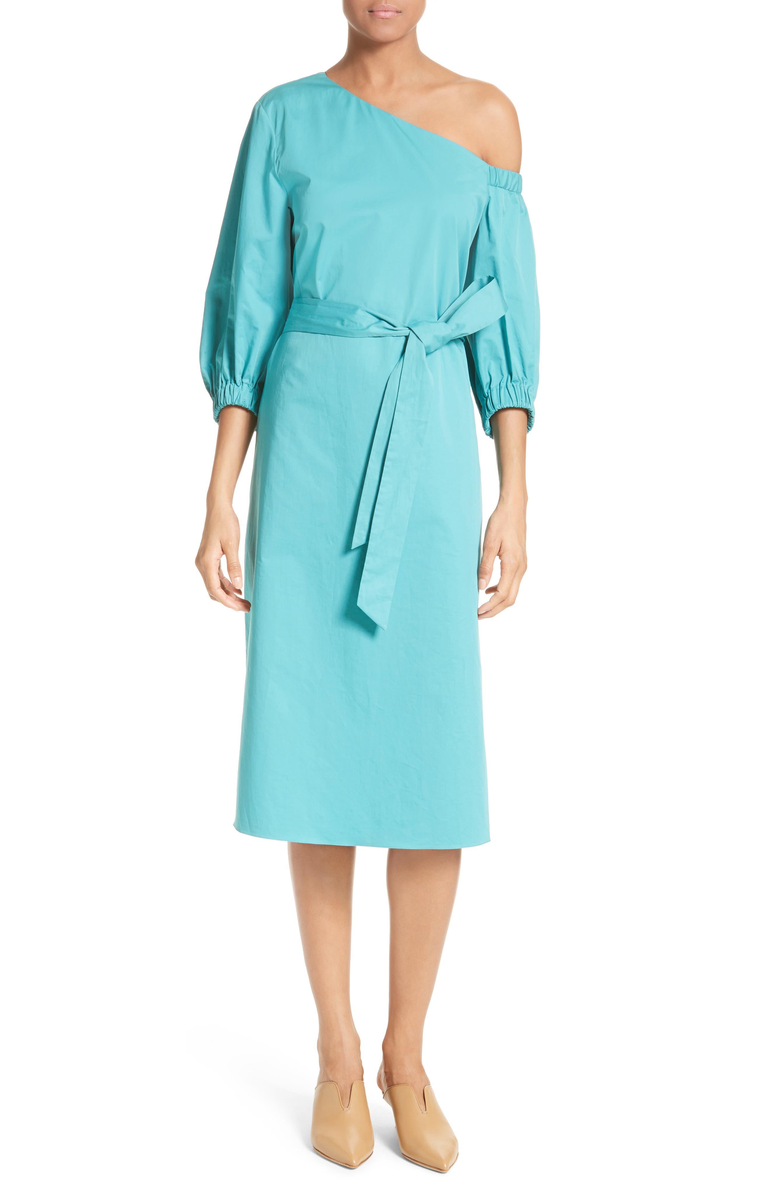 Cotton One-Shoulder Dress,                             Alternate thumbnail 5, color,                             442