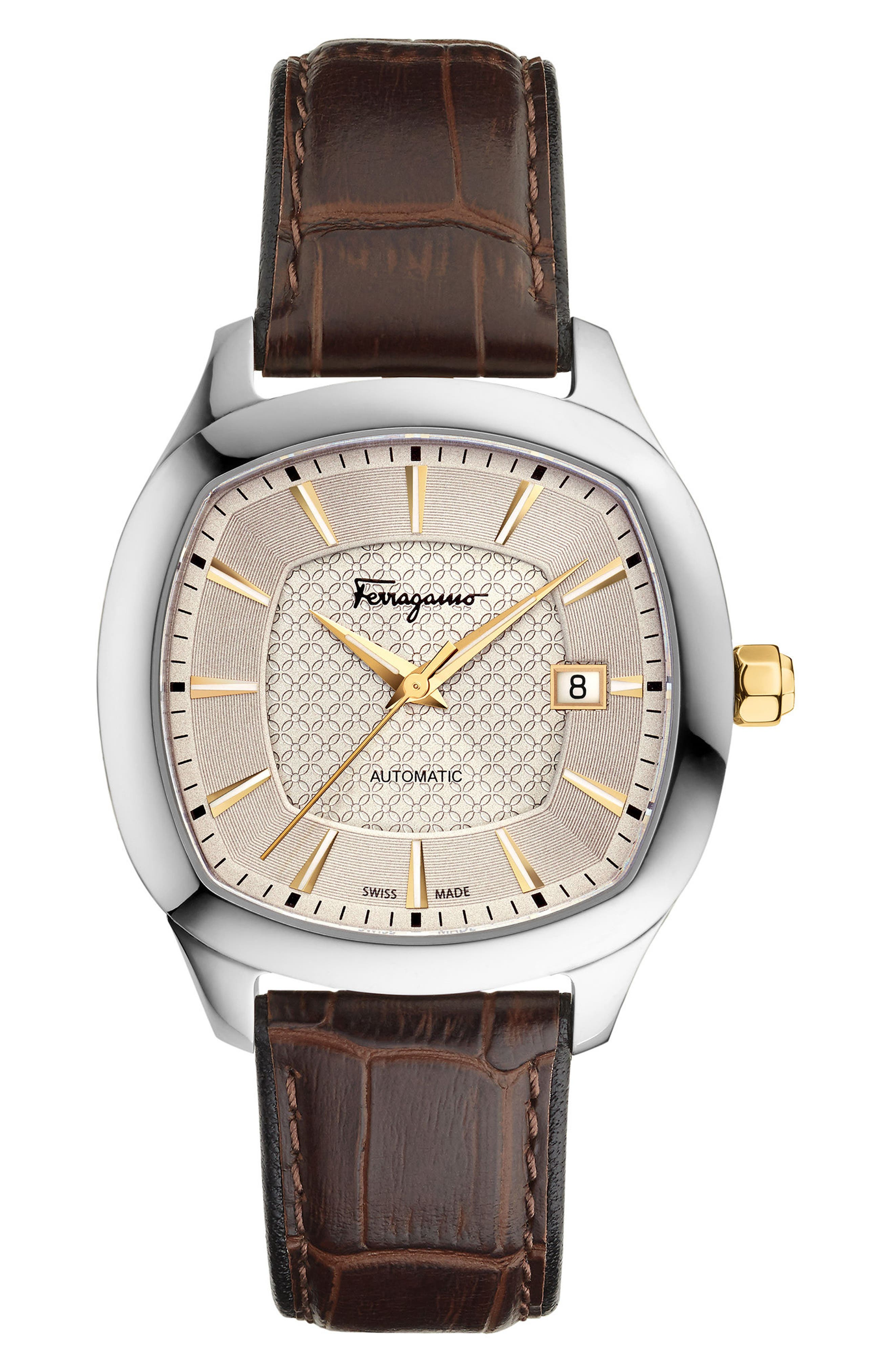 Square Automatic Leather Strap Watch, 41mm,                         Main,                         color, BROWN/ CHAMPAGNE/ SILVER