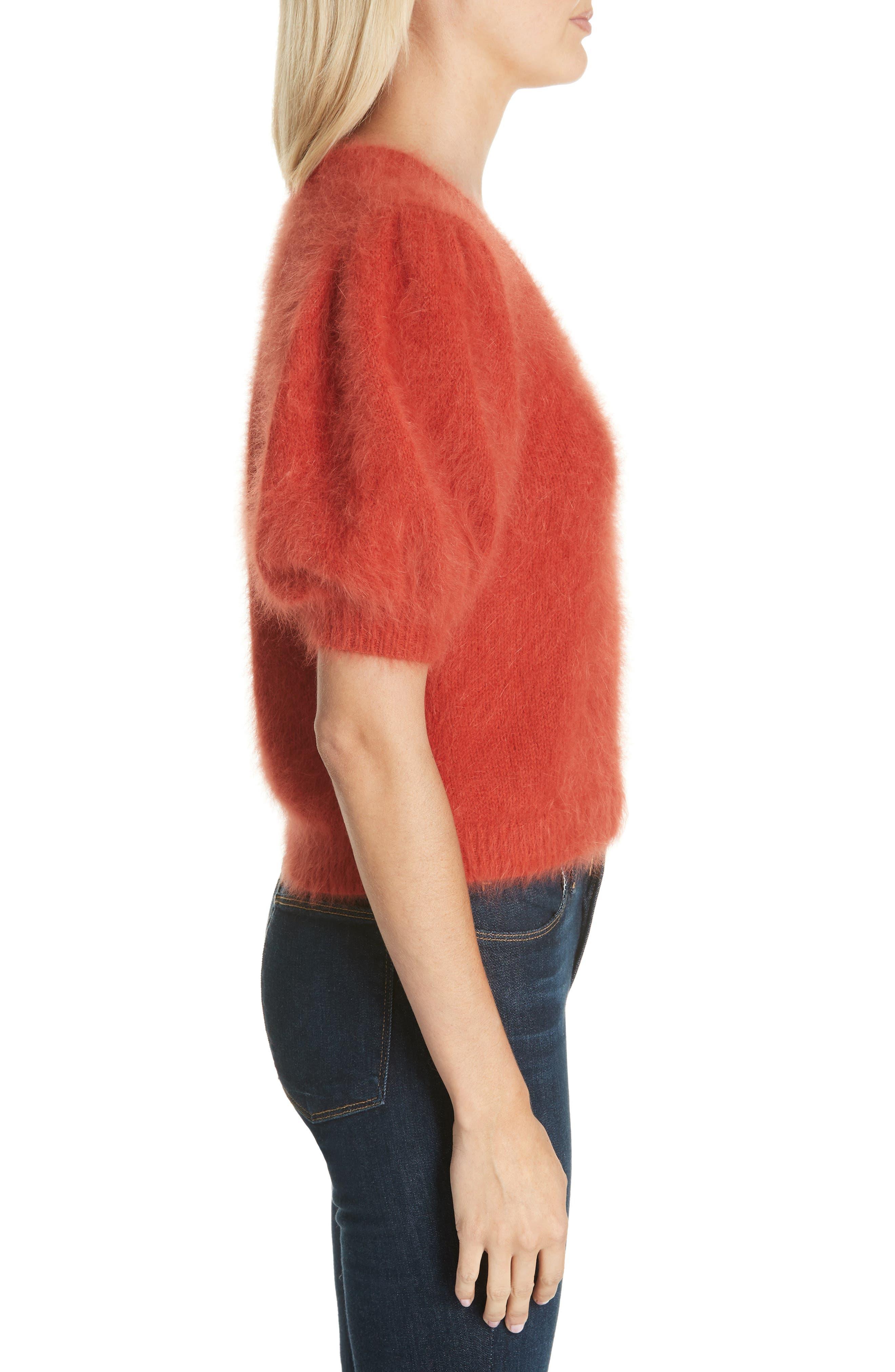 ULLA JOHNSON,                             Aries Puff Sleeve Sweater,                             Alternate thumbnail 3, color,                             600