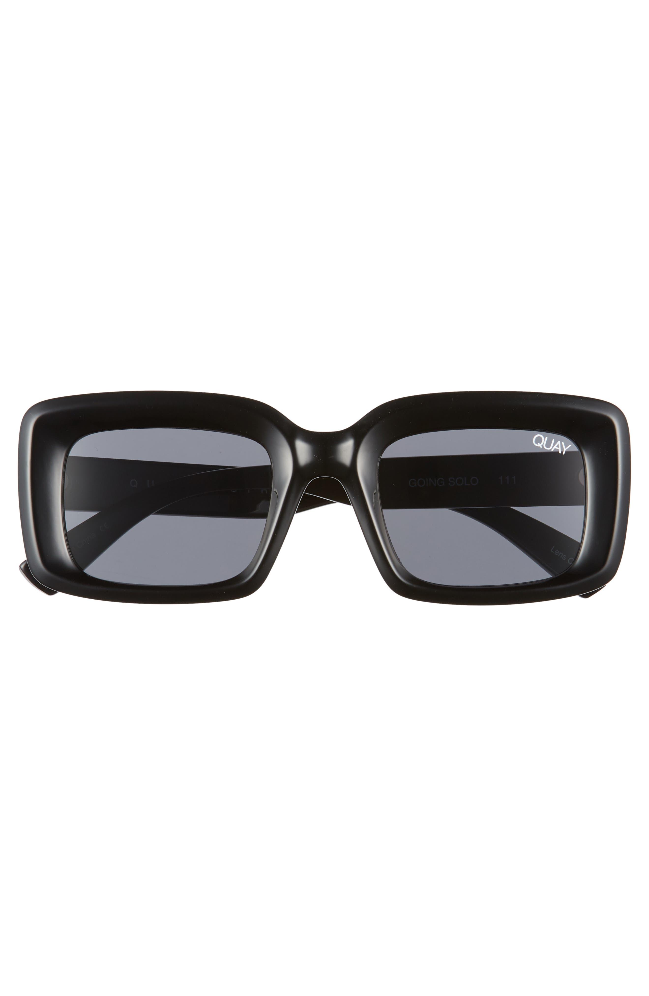 Going Solo 48mm Square Sunglasses,                             Alternate thumbnail 3, color,                             BLACK/ SMOKE