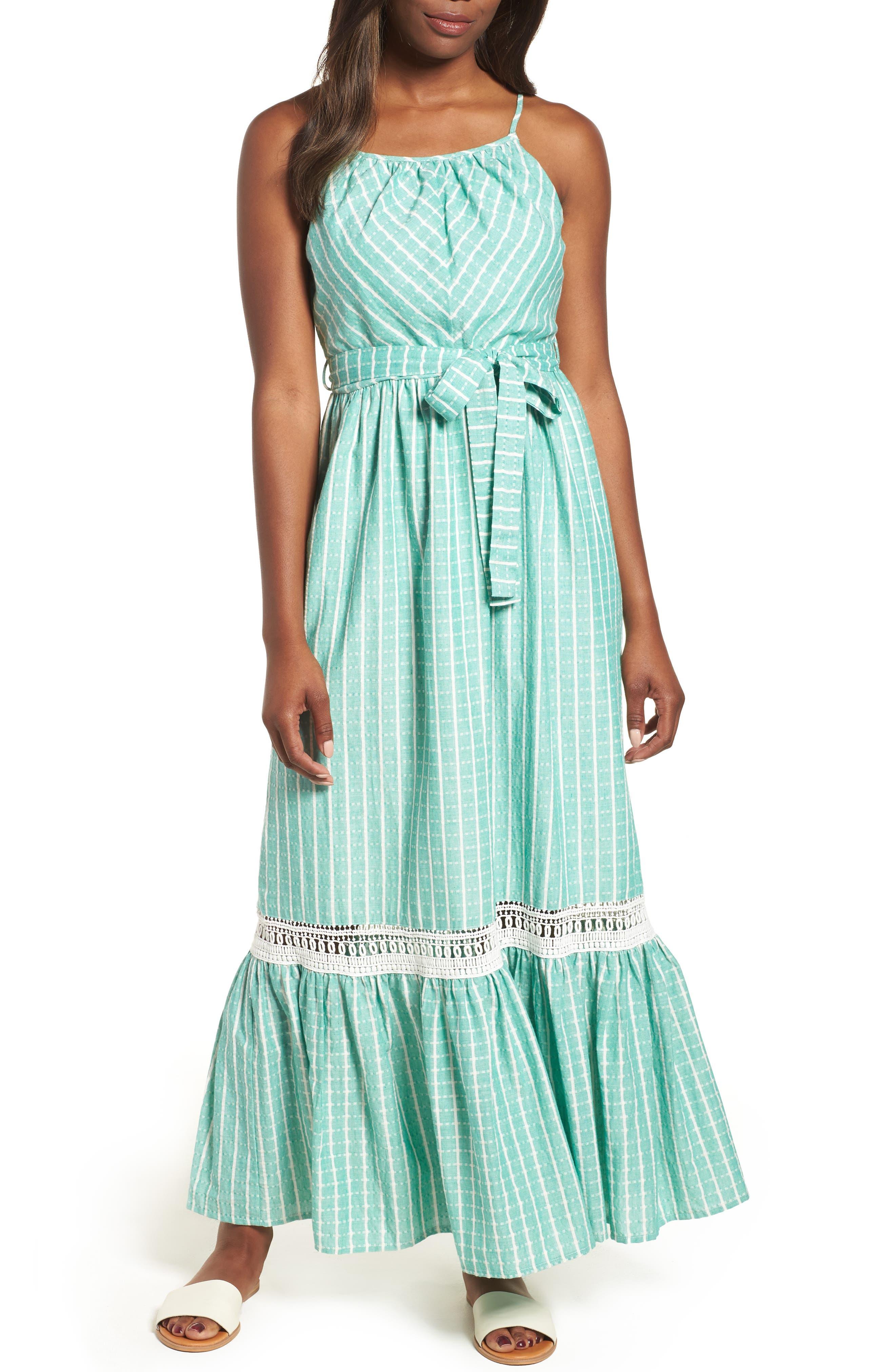 Tie Waist Cotton Maxi Dress,                             Main thumbnail 1, color,