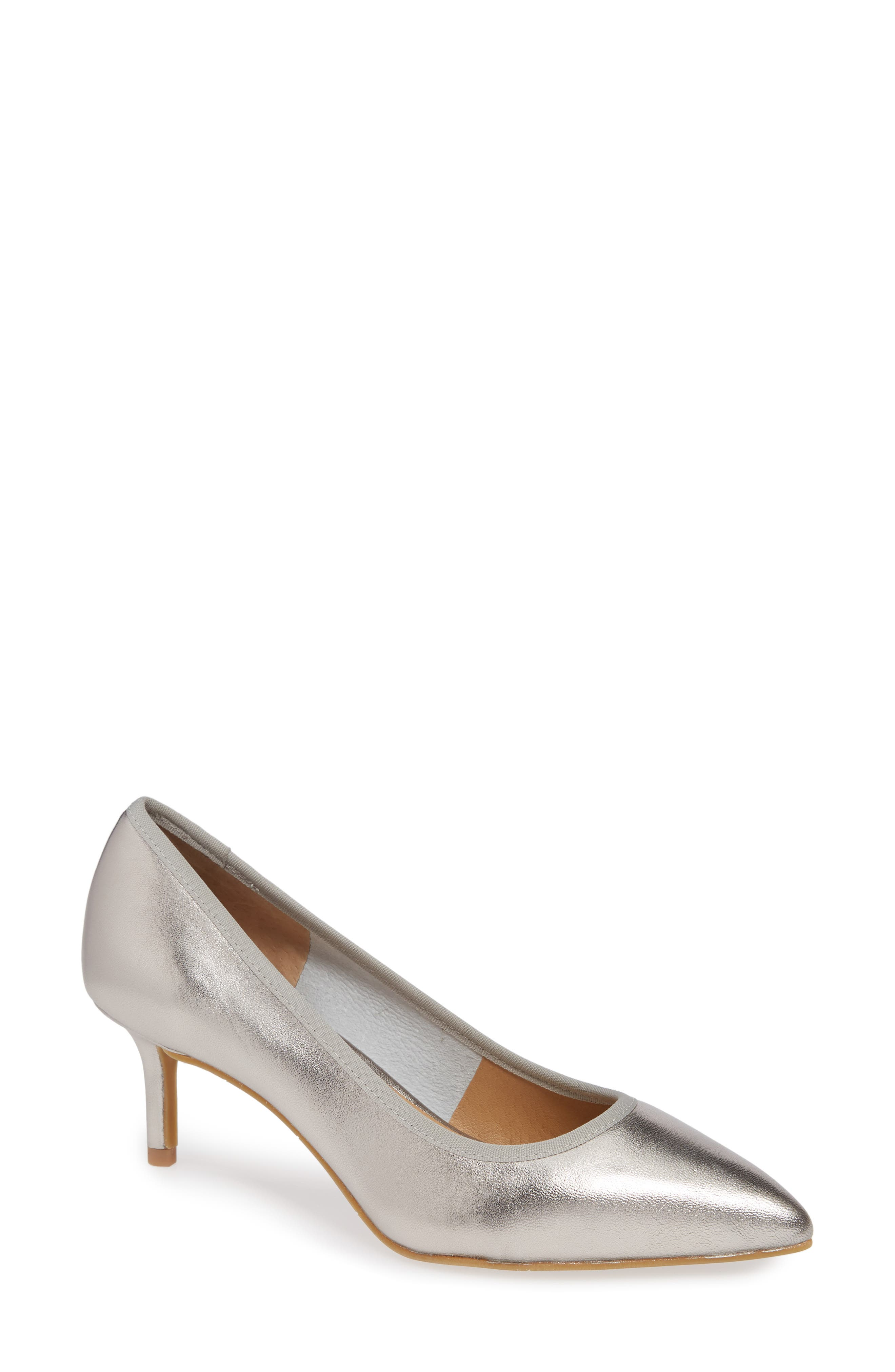 NIC + ZOE Cora Pointy Toe Pump,                             Main thumbnail 1, color,                             PEWTER LEATHER