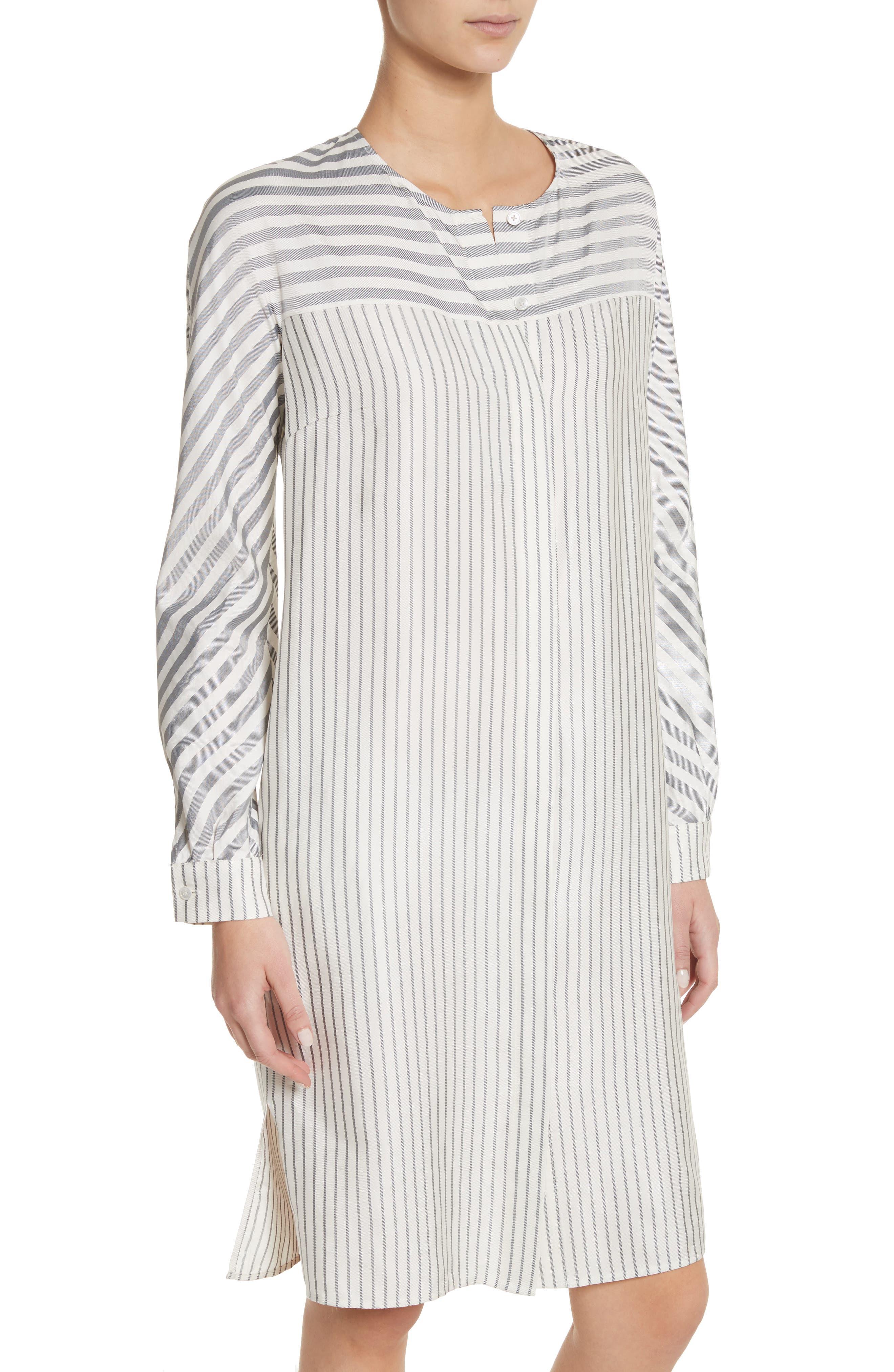 ST. JOHN COLLECTION,                             Stripe Tie Neck Shirtdress,                             Alternate thumbnail 5, color,                             900