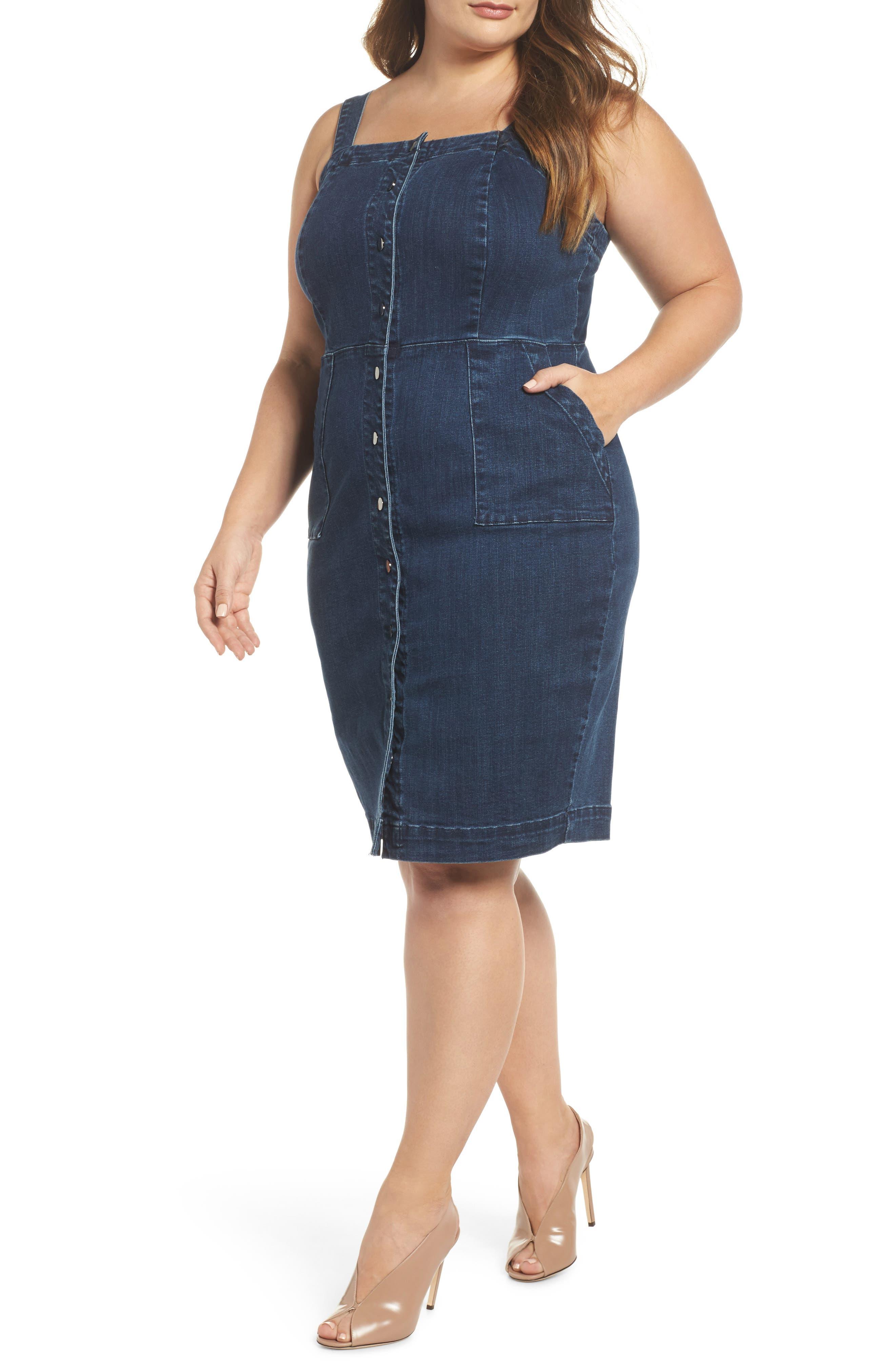 Denim Body-Con Dress,                             Main thumbnail 1, color,                             401