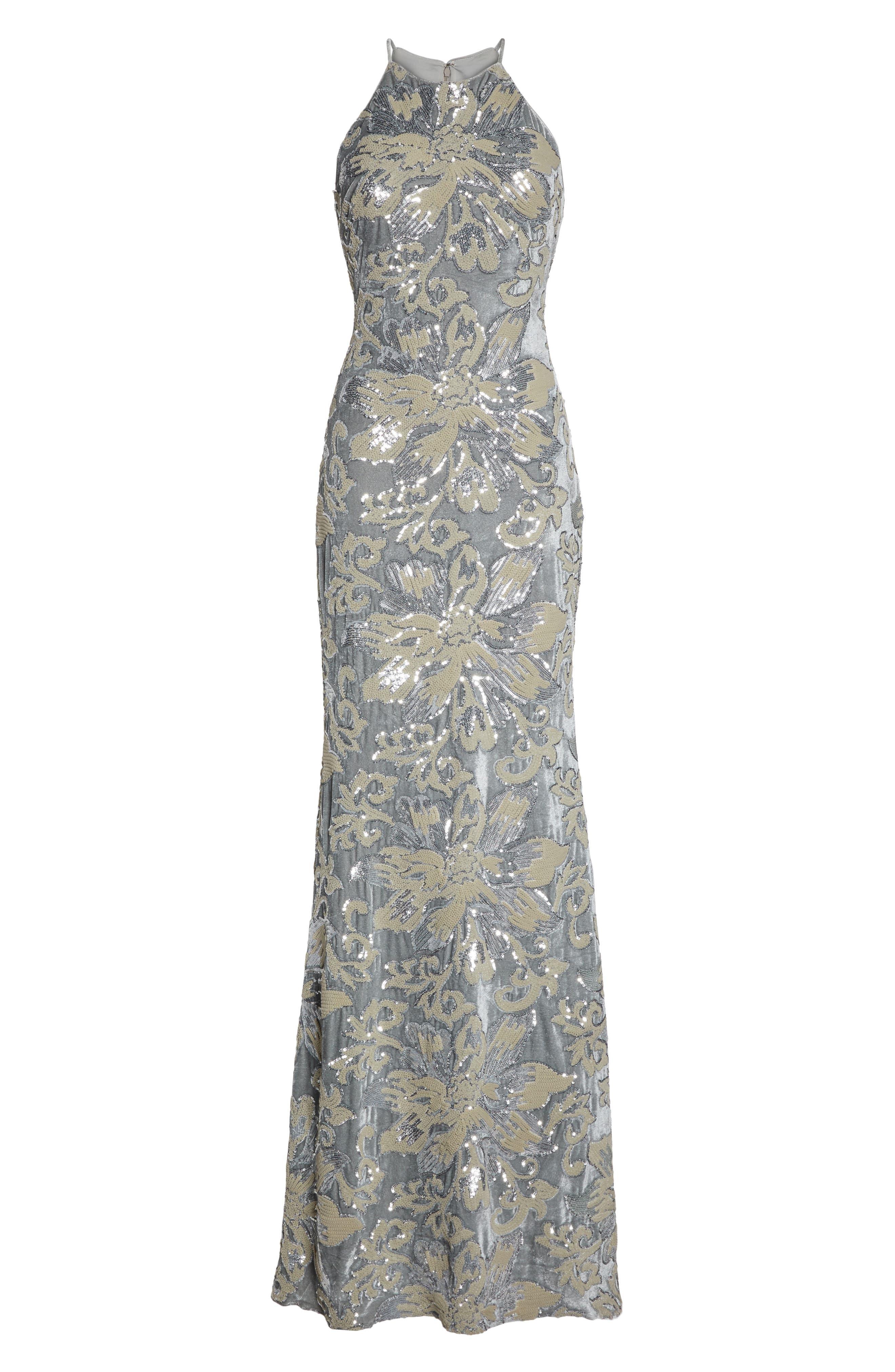 Sequin Embroidered Velvet Halter Gown,                             Alternate thumbnail 6, color,
