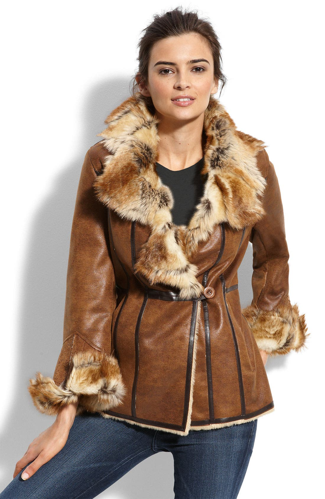 PLATINUM Utex Faux Shearling Coat, Main, color, 200