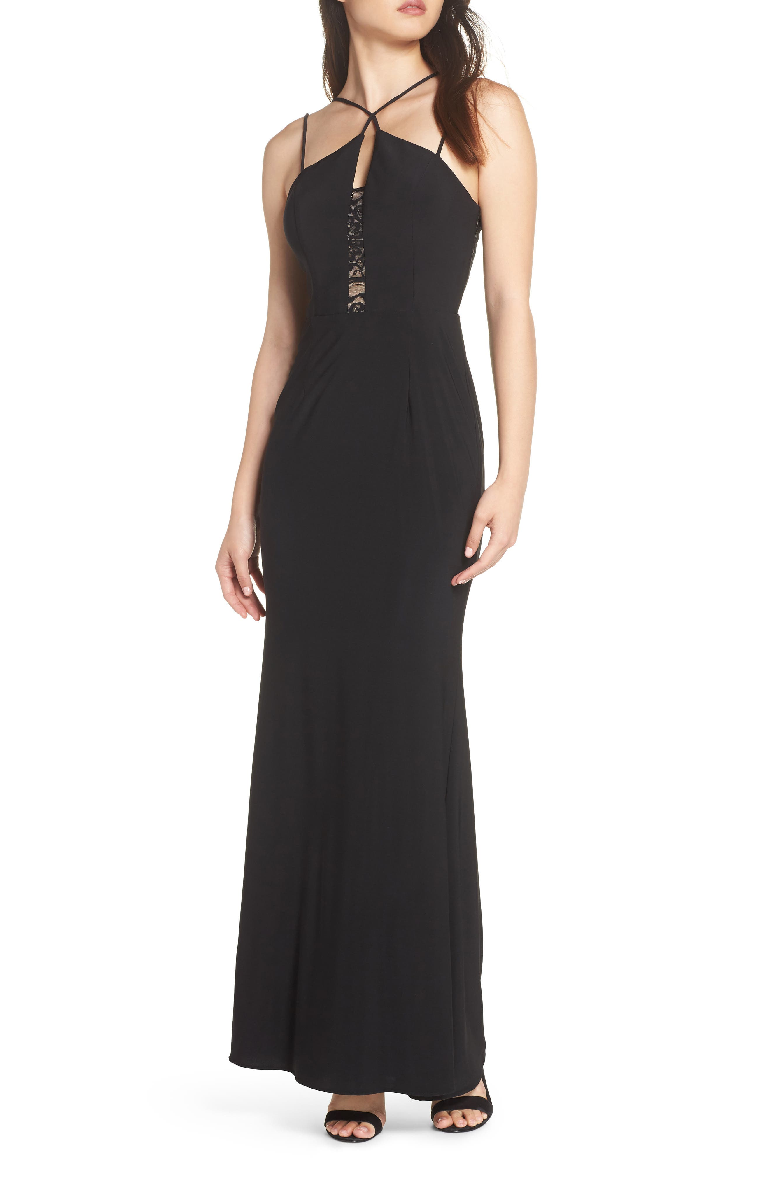 Strappy Lace Inset Trumpet Gown,                             Main thumbnail 1, color,                             BLACK