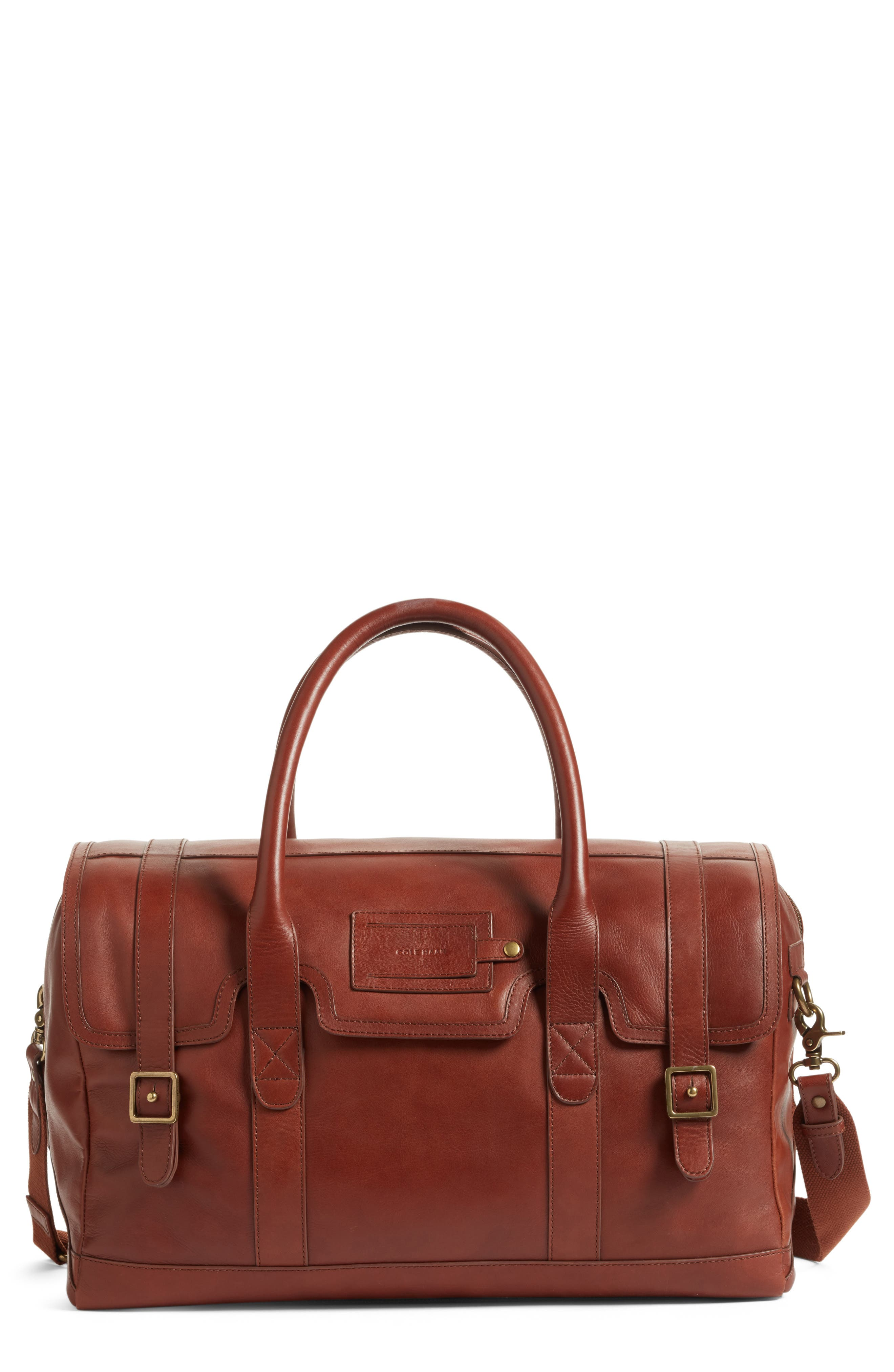 Leather Duffel Bag,                             Main thumbnail 2, color,