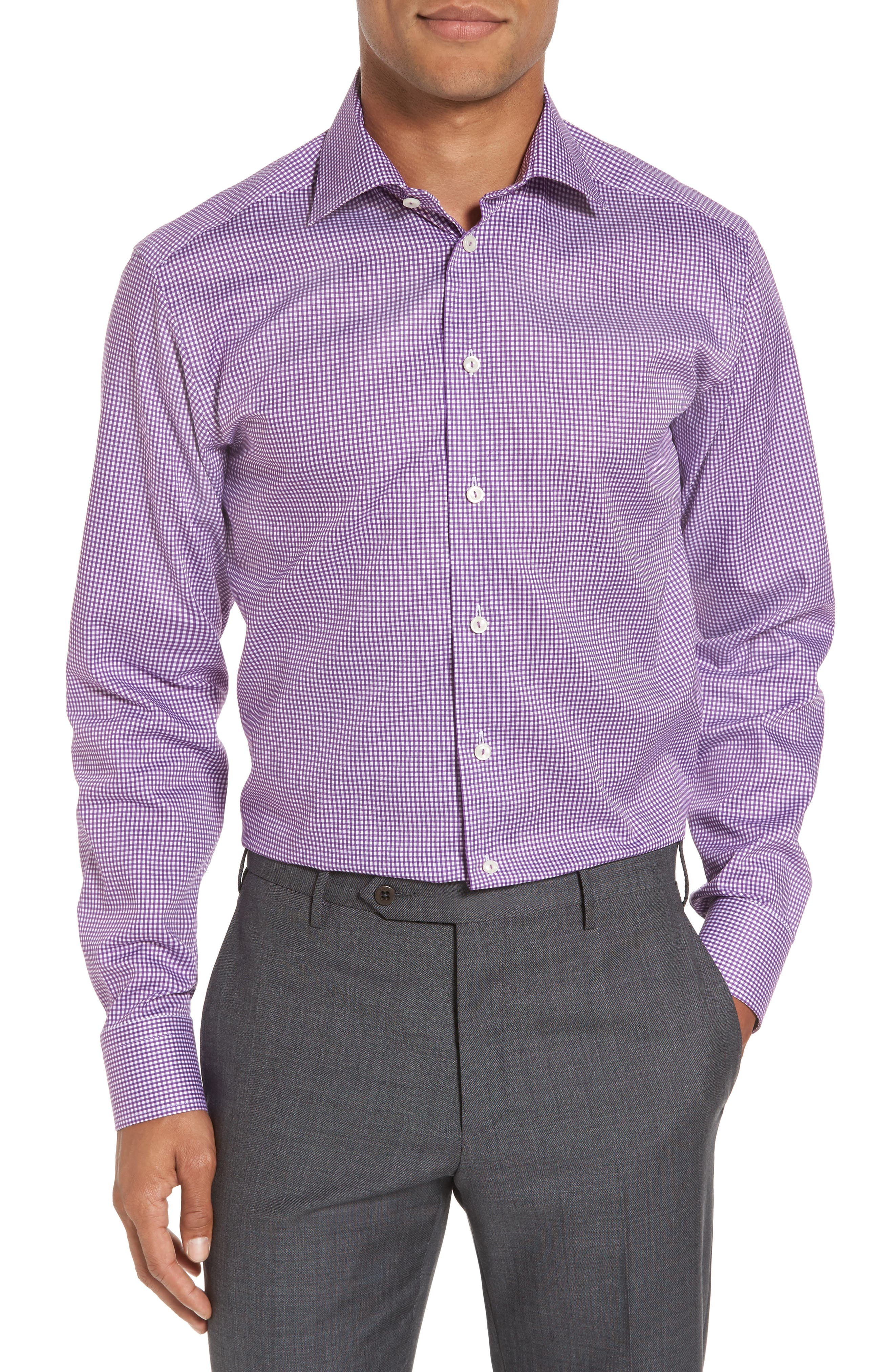 Slim Fit Check Dress Shirt,                         Main,                         color, 500