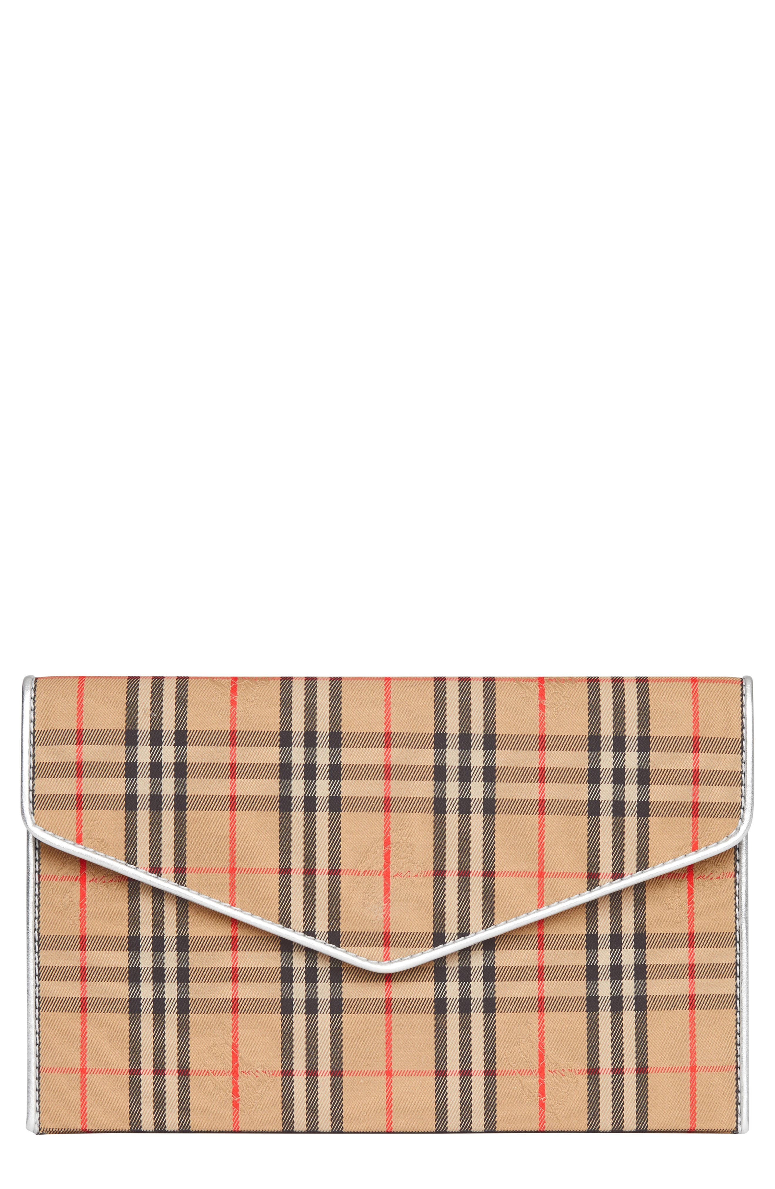 1983 Check Cotton & Leather Envelope Clutch,                             Main thumbnail 1, color,                             ANTIQUE YELLOW/ SILVER