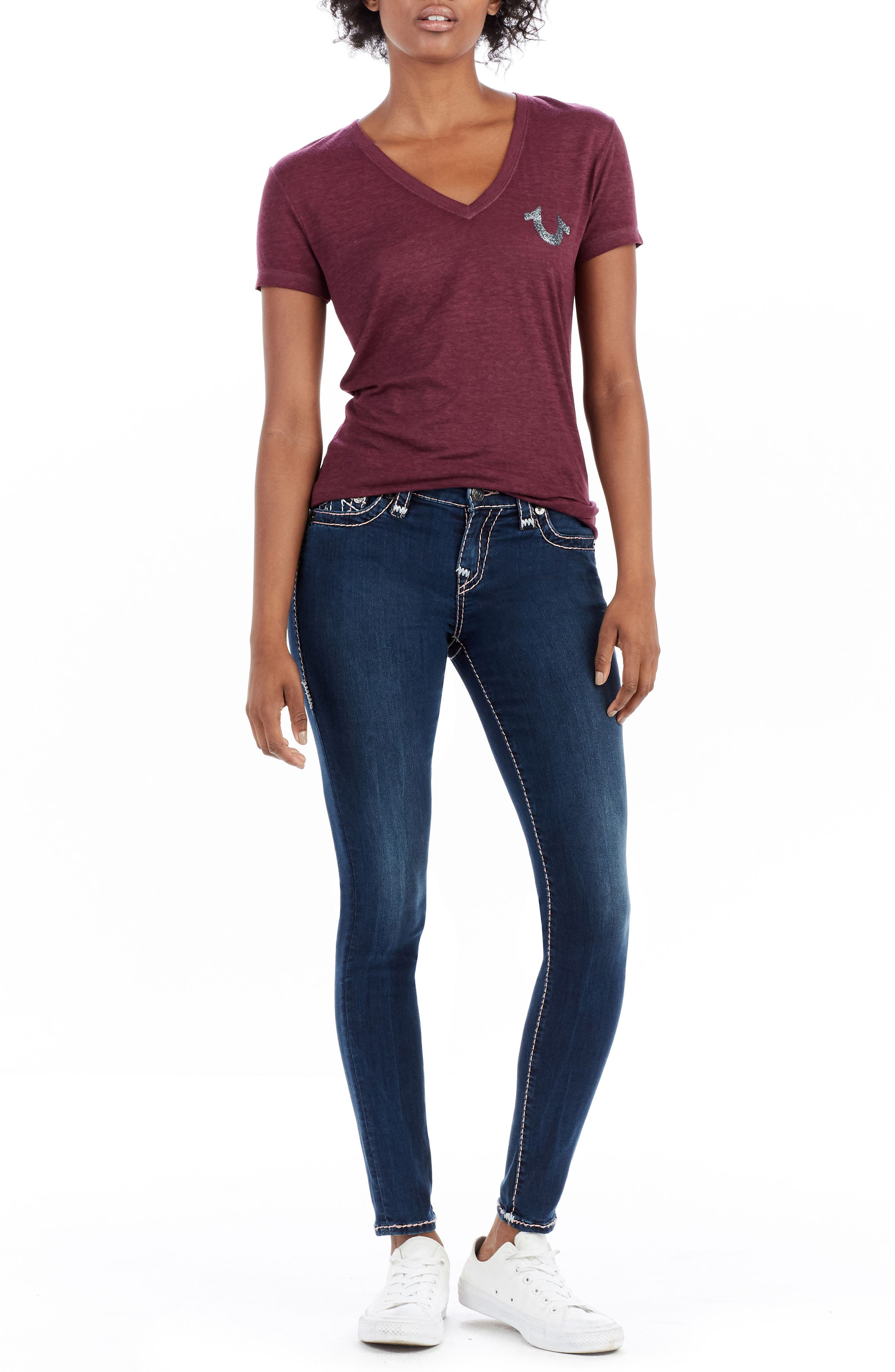 Halle Super Skinny Jeans,                             Alternate thumbnail 8, color,                             400