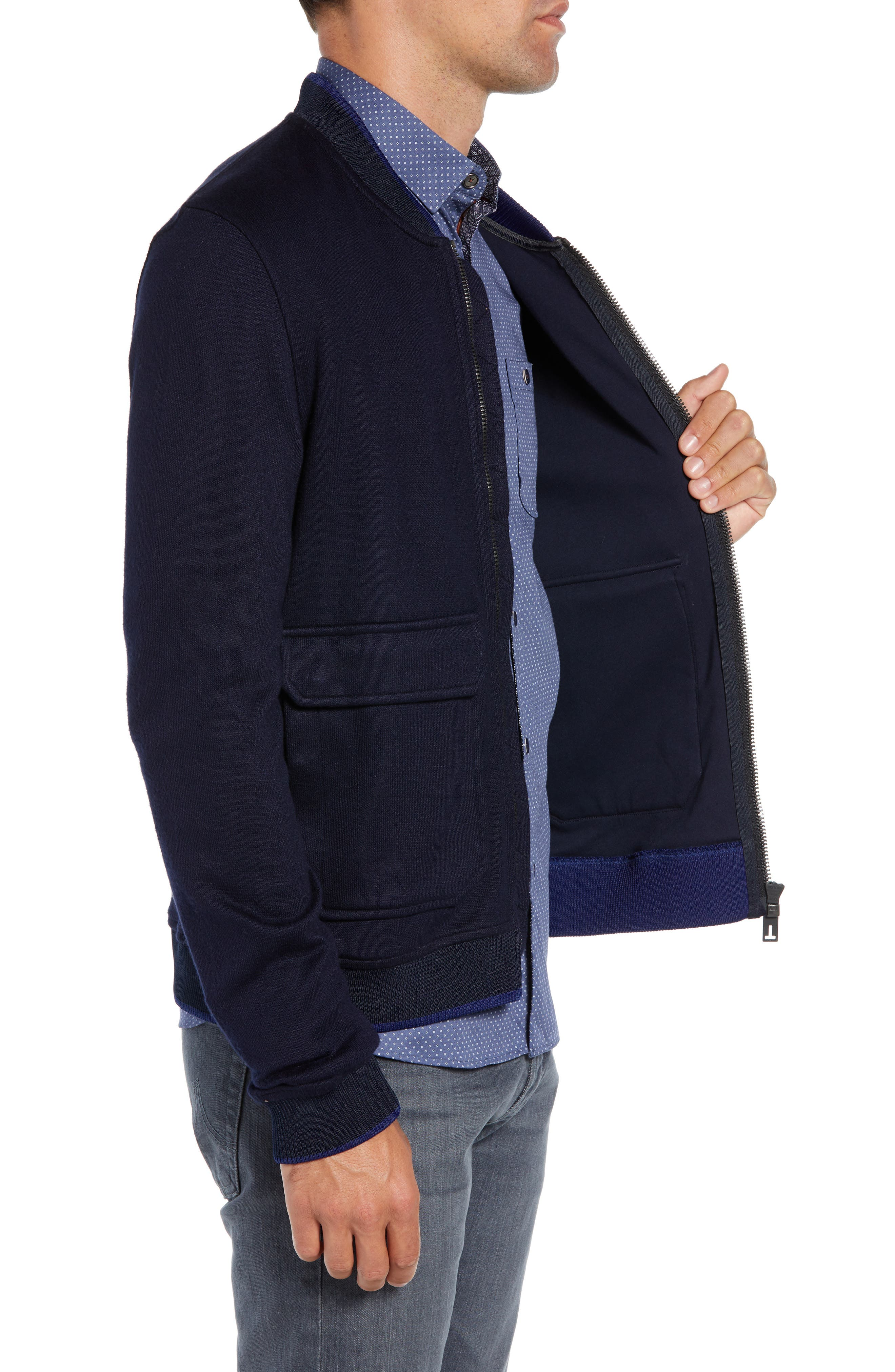 TED BAKER LONDON,                             Cadbir Trim Fit Jersey Bomber Jacket,                             Alternate thumbnail 3, color,                             410
