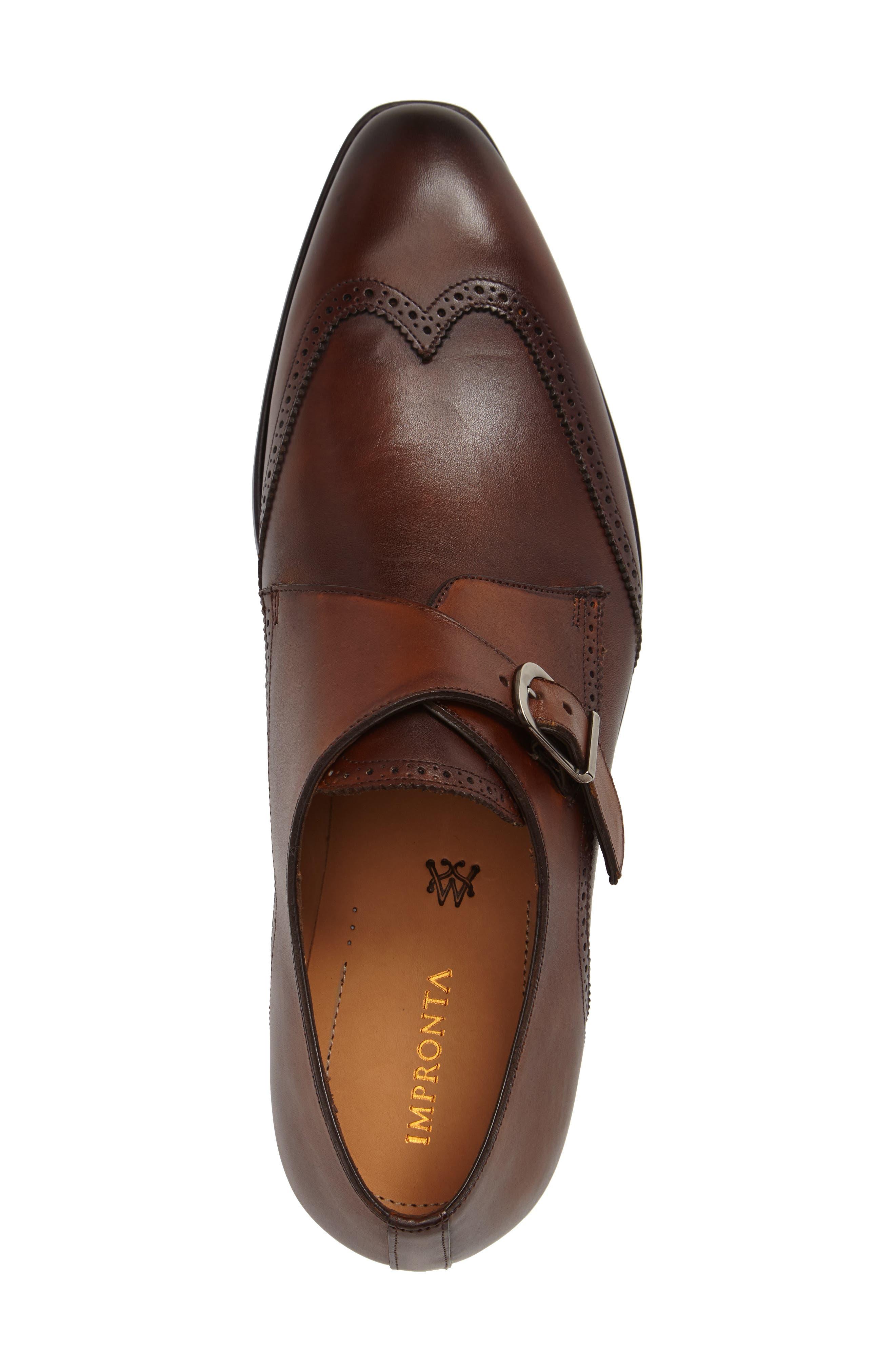 by Mezlan G121 Wingtip Monk Strap Shoe,                             Alternate thumbnail 3, color,                             COGNAC