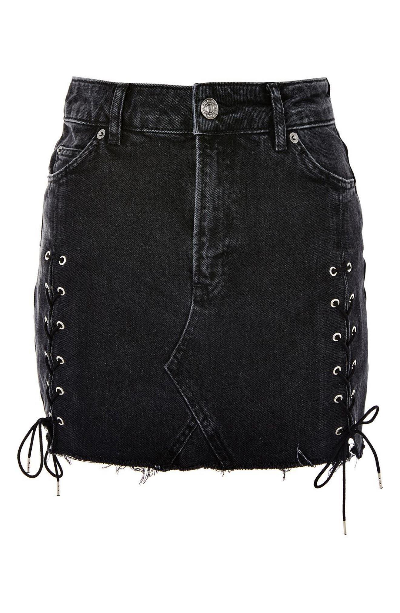 Lace-Up Denim Miniskirt,                             Alternate thumbnail 4, color,                             001