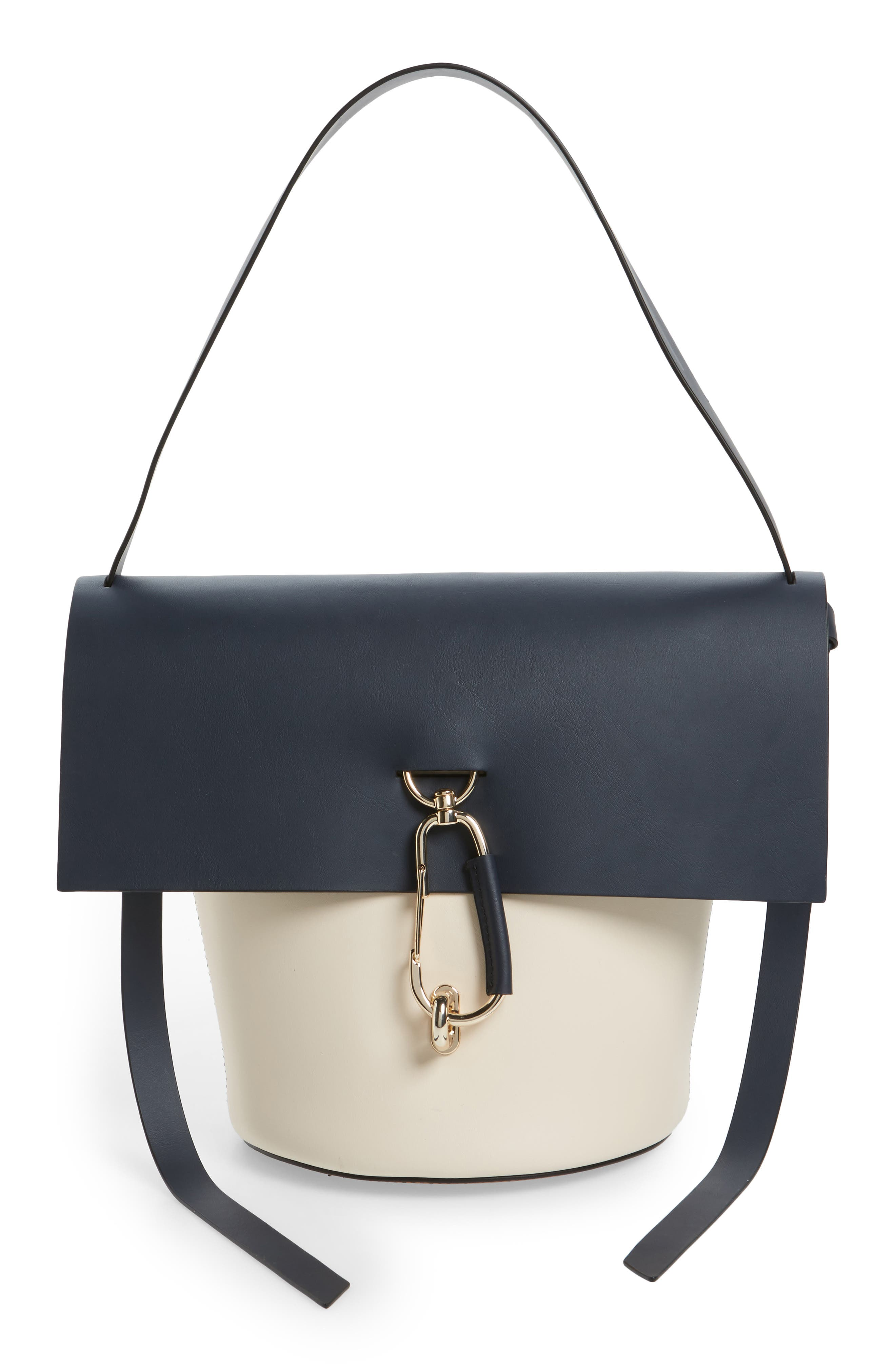 Belay Colorblock Leather Bucket Bag,                             Main thumbnail 1, color,                             410
