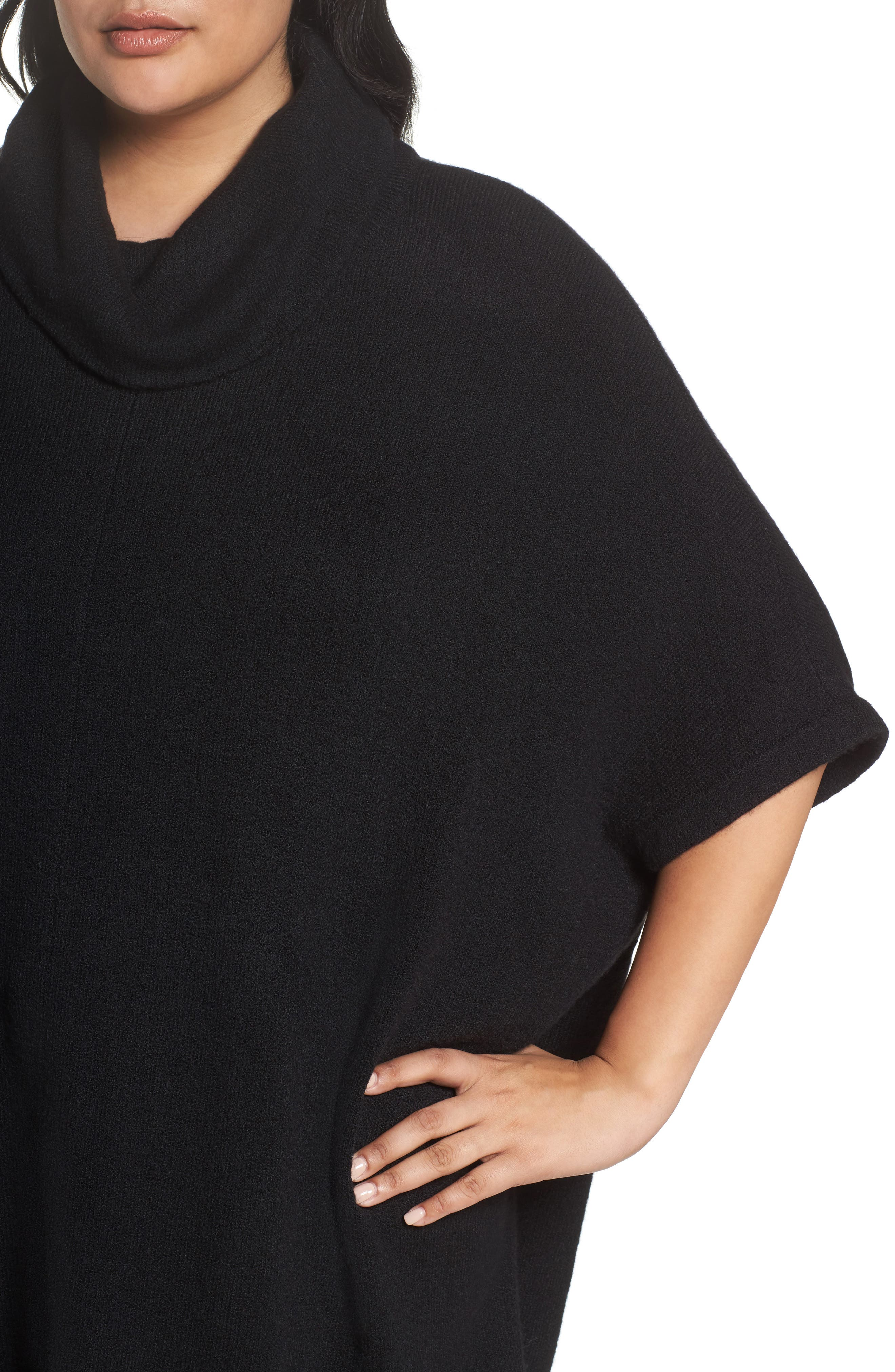Turtleneck Poncho Sweater,                             Alternate thumbnail 4, color,                             001