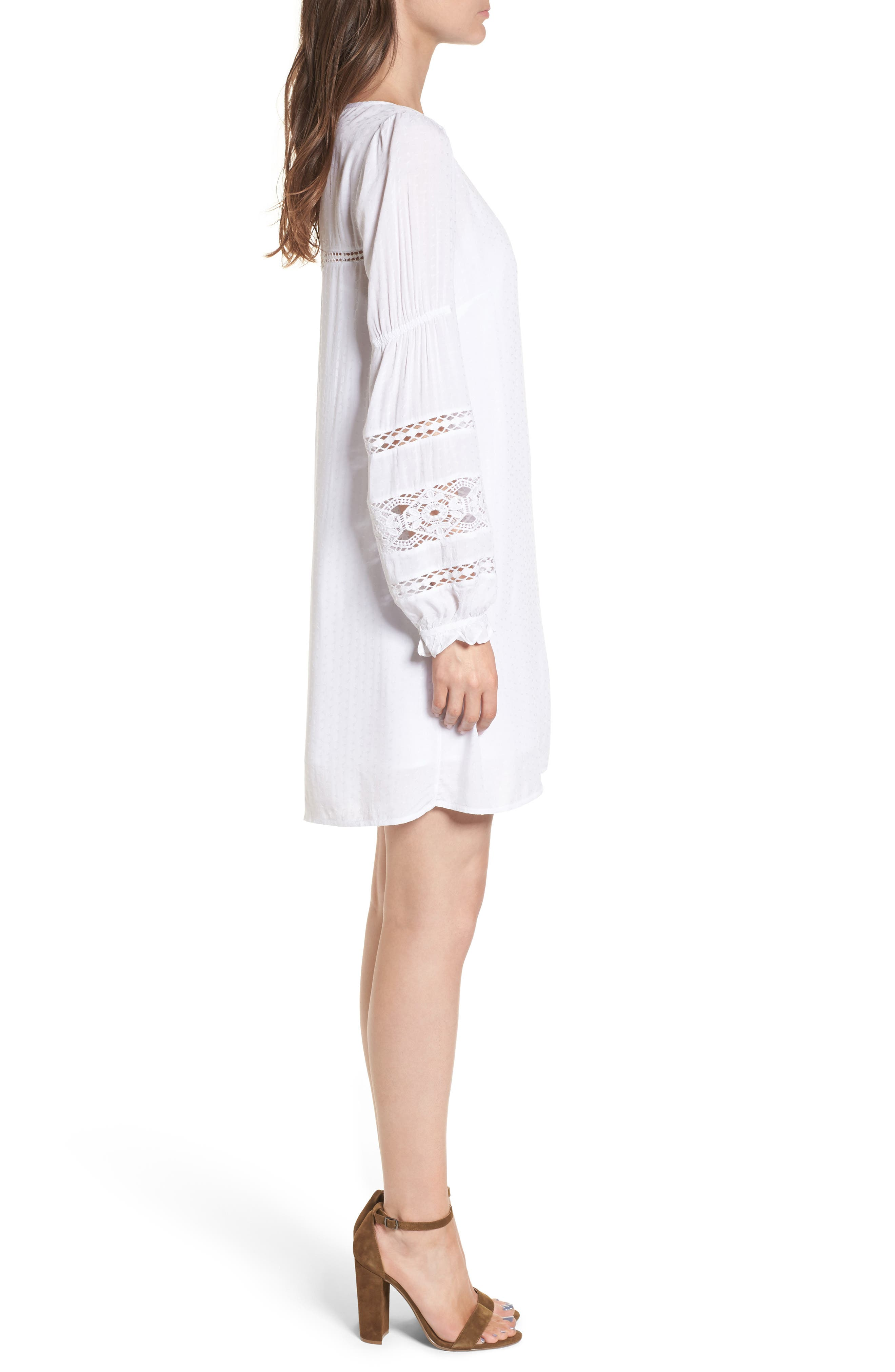 Lace Trim Puff Sleeve Shift Dress,                             Alternate thumbnail 3, color,                             100
