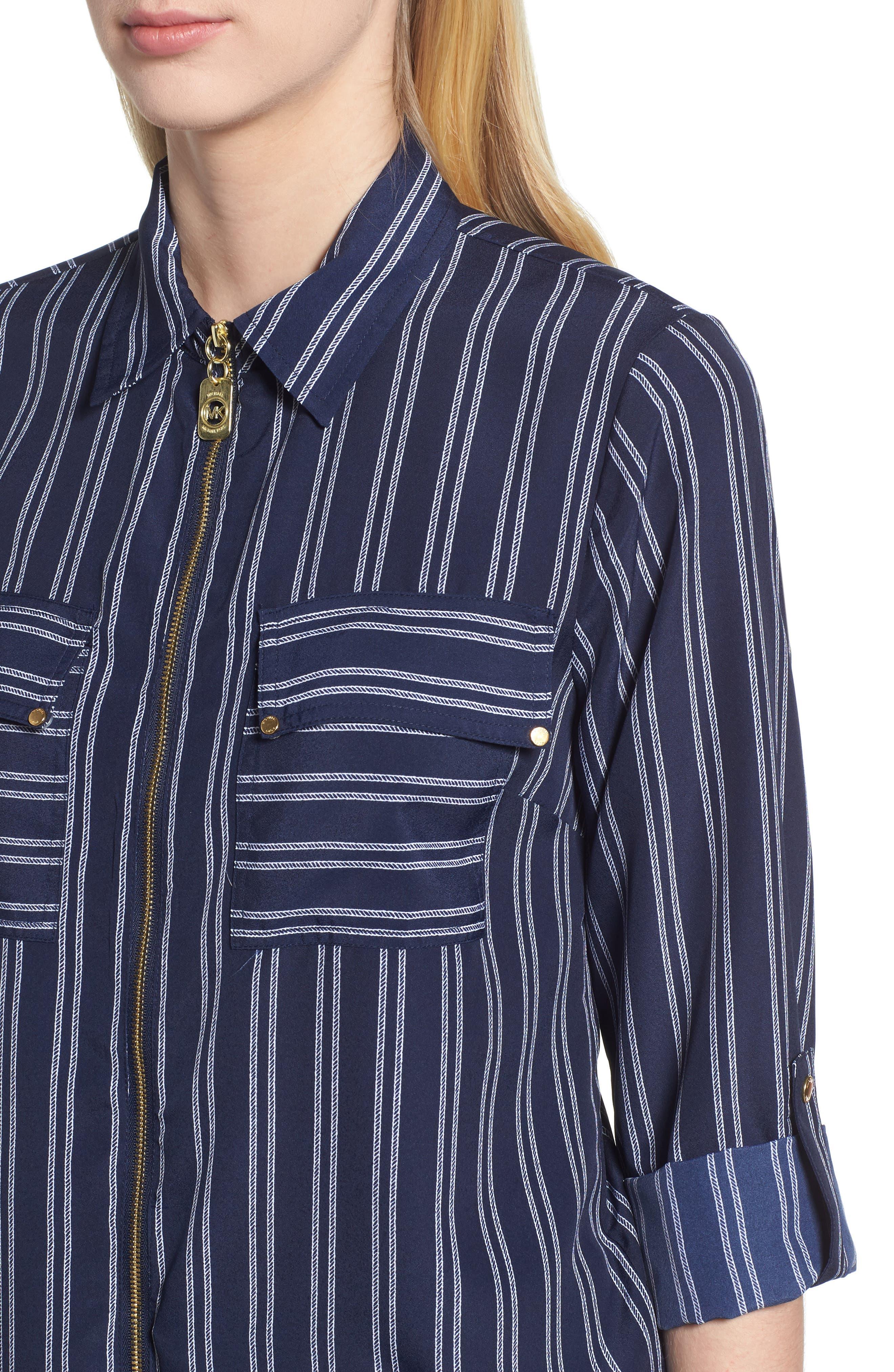 MICHAEL Michael Kors Bengal Striped Shirt,                             Alternate thumbnail 4, color,                             TRUE NAVY