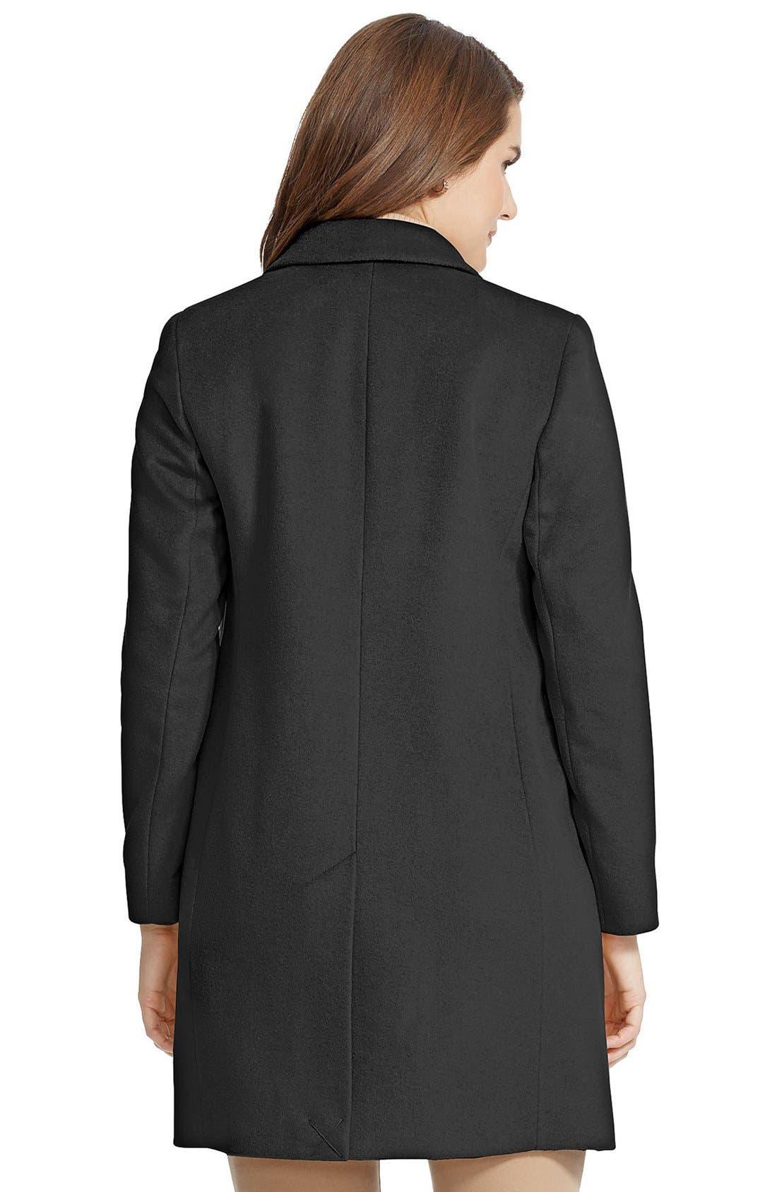 LAUREN RALPH LAUREN,                             Wool Blend Reefer Coat,                             Alternate thumbnail 2, color,                             BLACK