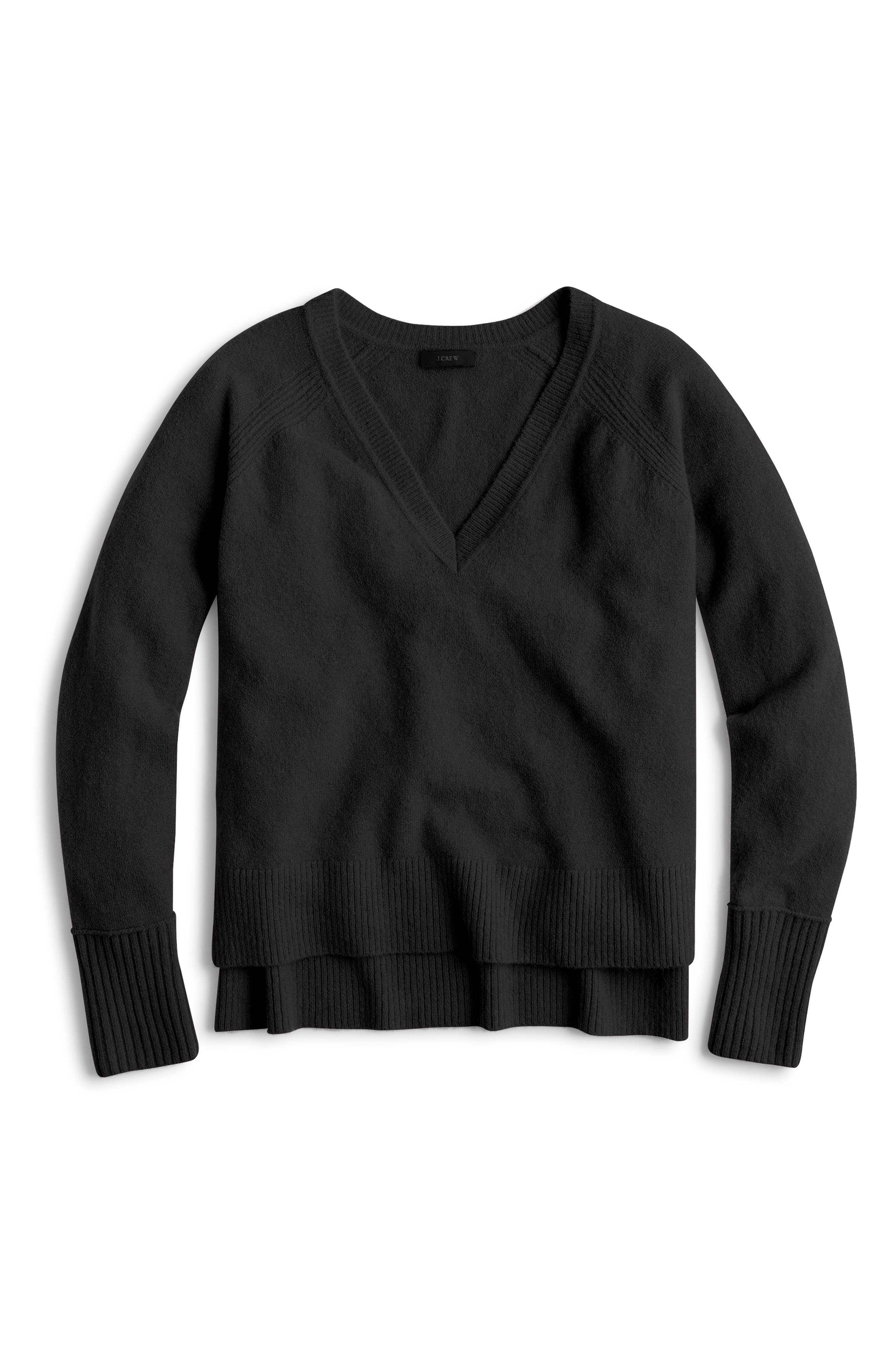 Supersoft Yarn V-Neck Sweater,                             Main thumbnail 1, color,                             BLACK