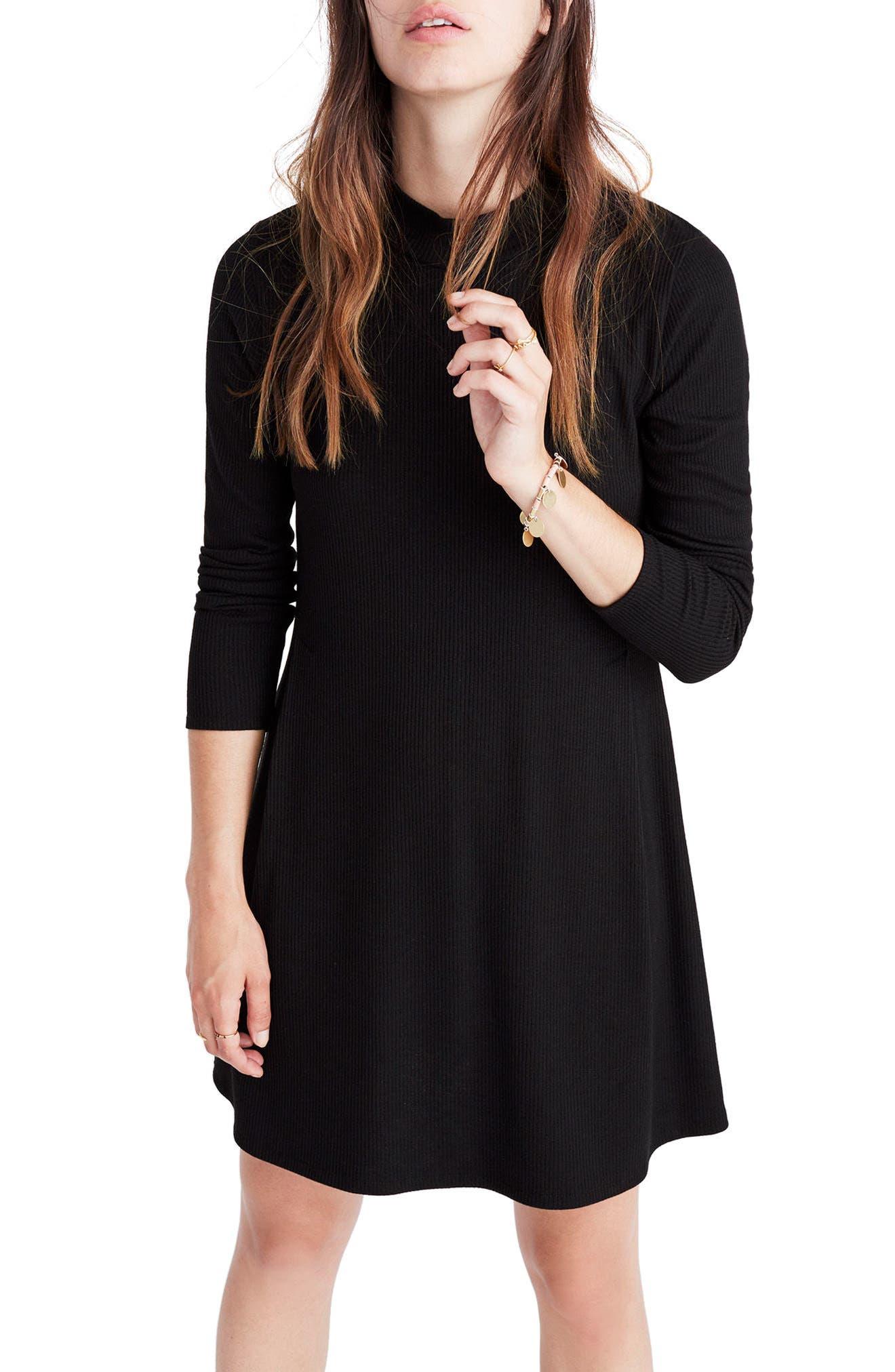 Mock Neck Marled Knit Dress,                             Main thumbnail 1, color,                             001