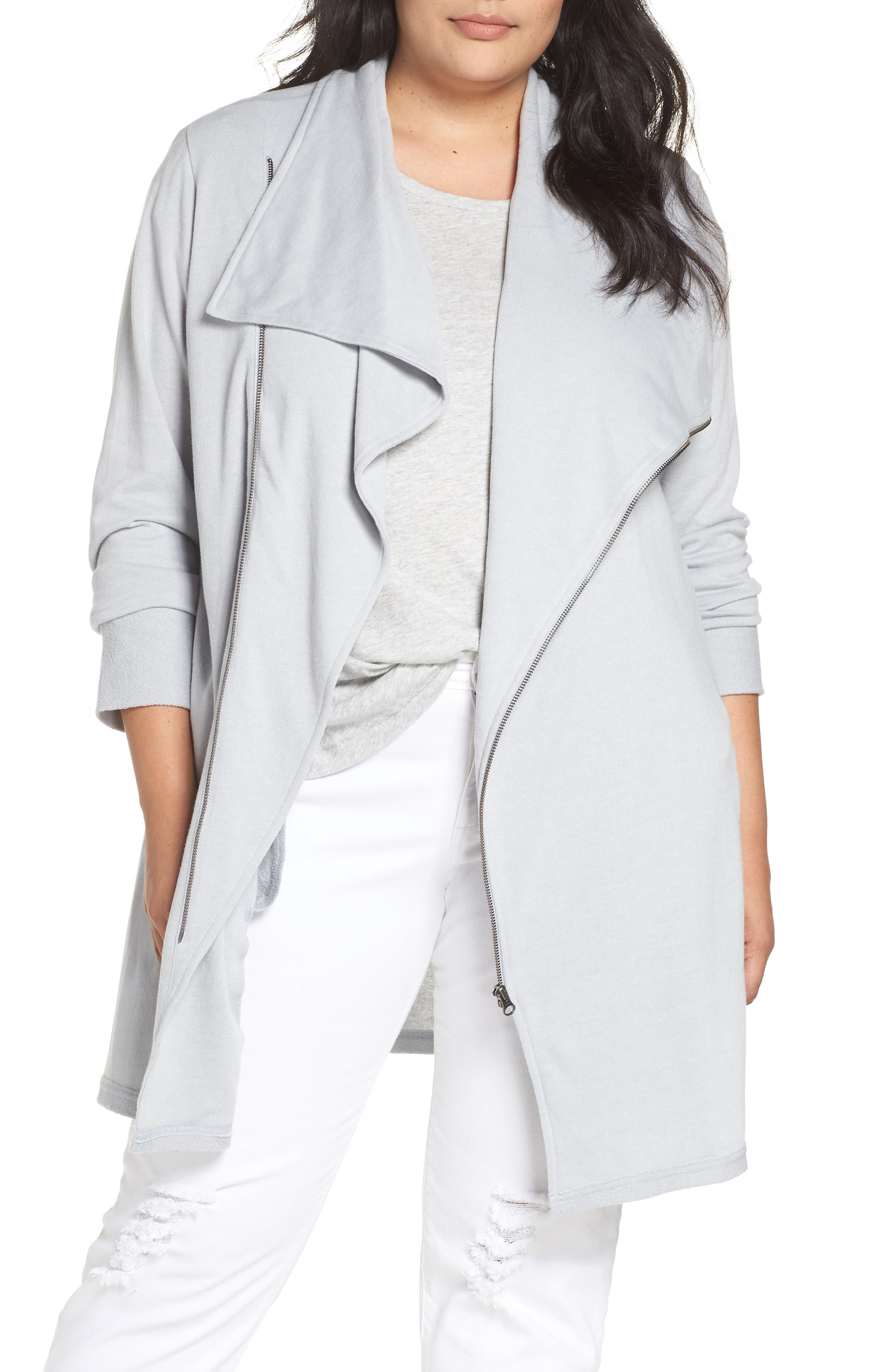 Asymmetrical Zip Long Cardigan,                         Main,                         color, GREY