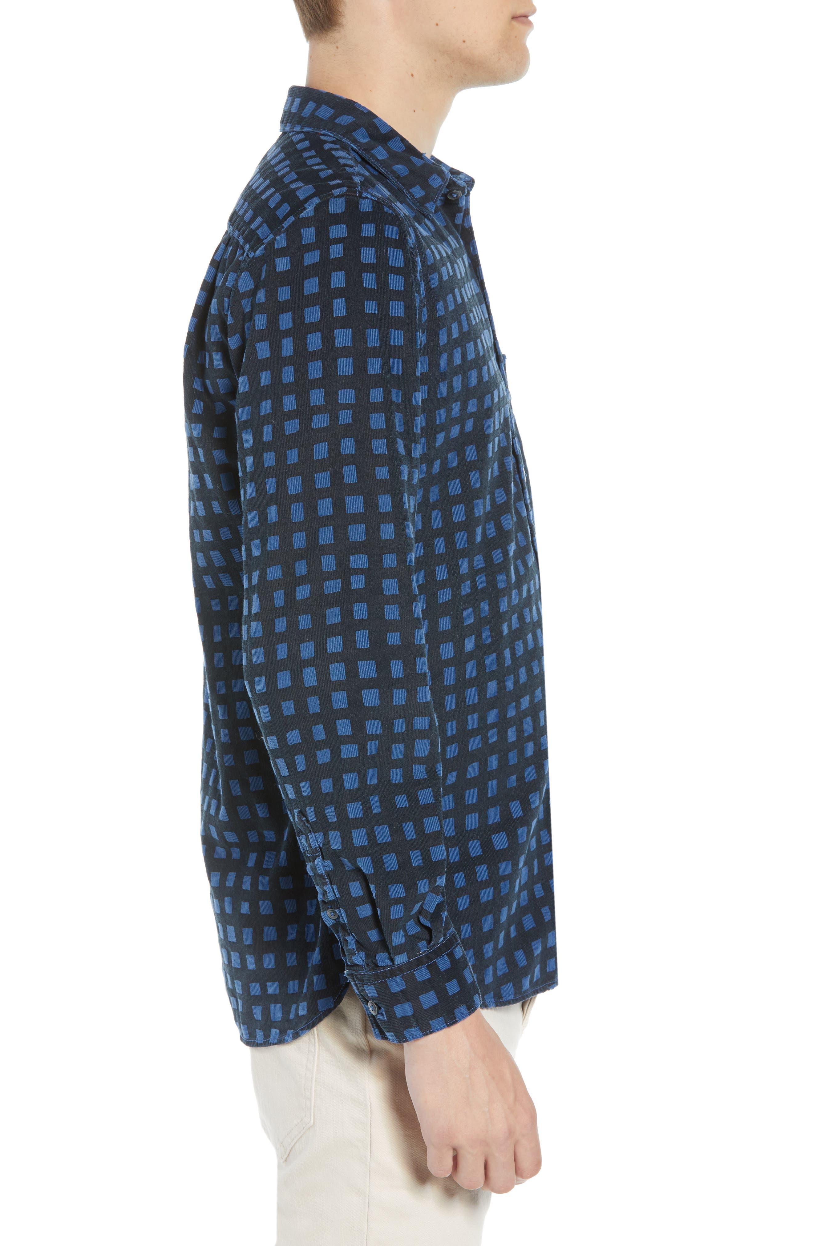 Gridlock Regular Fit Corduroy Shirt,                             Alternate thumbnail 4, color,                             FATHOM BLUE