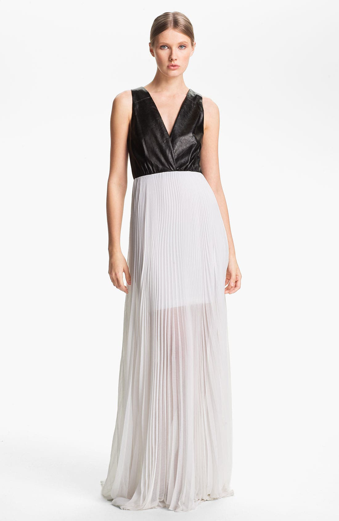 ALICE + OLIVIA,                             Leather Bodice & Chiffon Dress,                             Main thumbnail 1, color,                             009