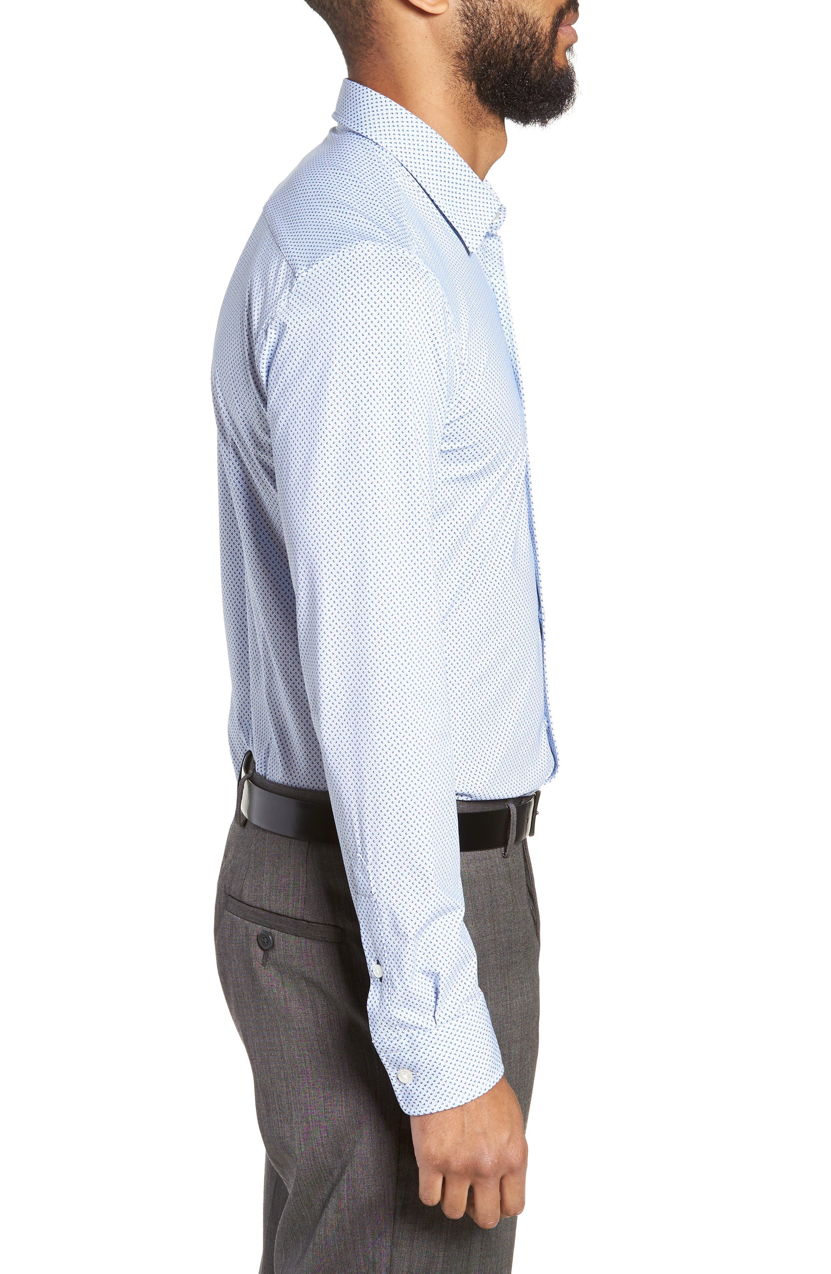Ronni Slim Fit Performance Sport Shirt,                             Alternate thumbnail 4, color,                             BLUE