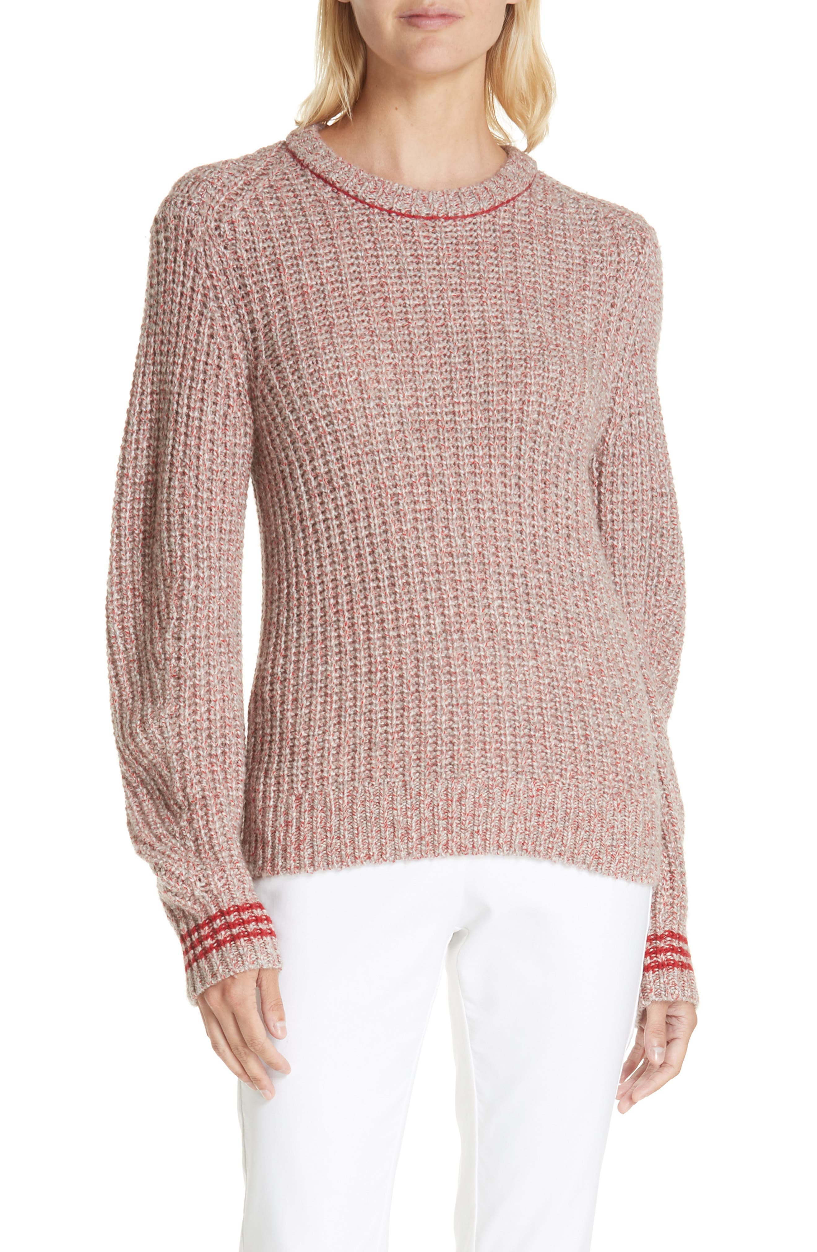 Cheryl Stripe Cuff Wool Blend Sweater,                             Alternate thumbnail 7, color,                             067