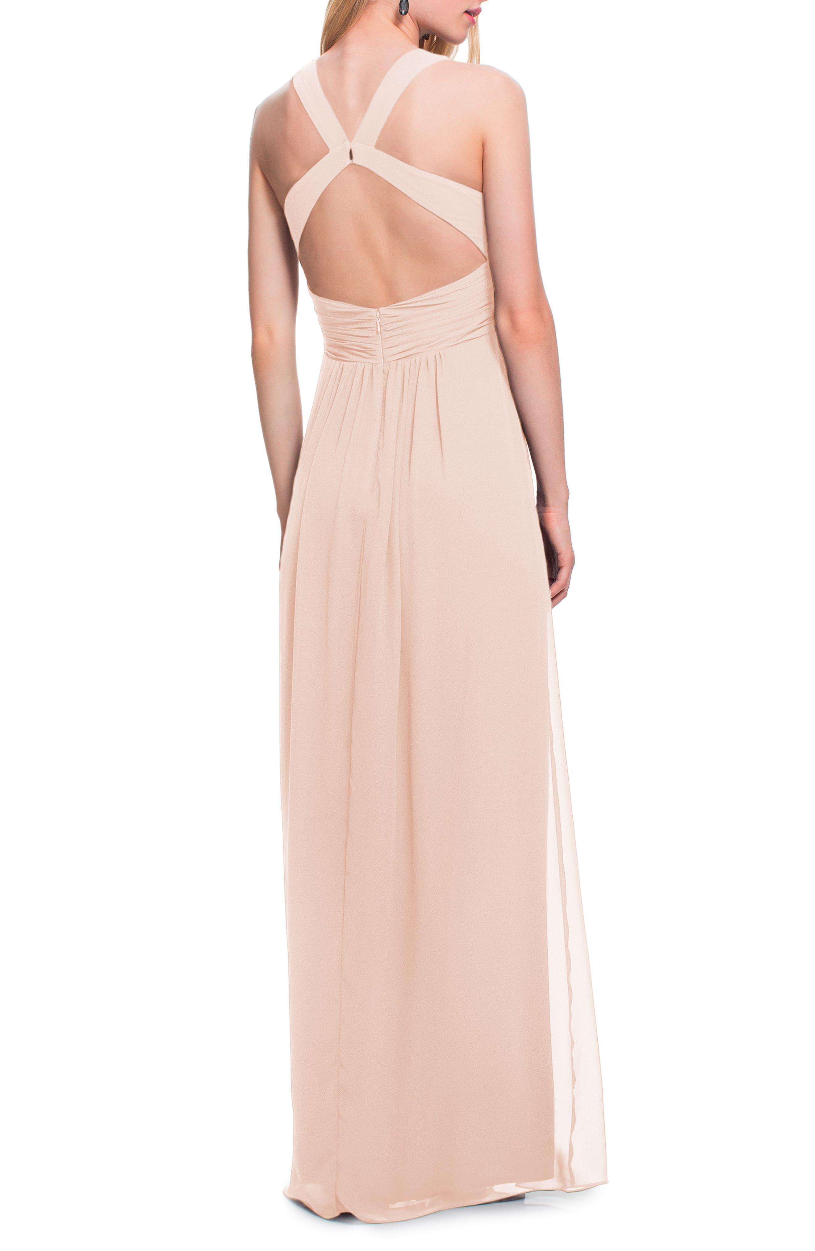 #LEVKOFF,                             Back Cutout Chiffon Gown,                             Alternate thumbnail 2, color,                             PETAL PINK