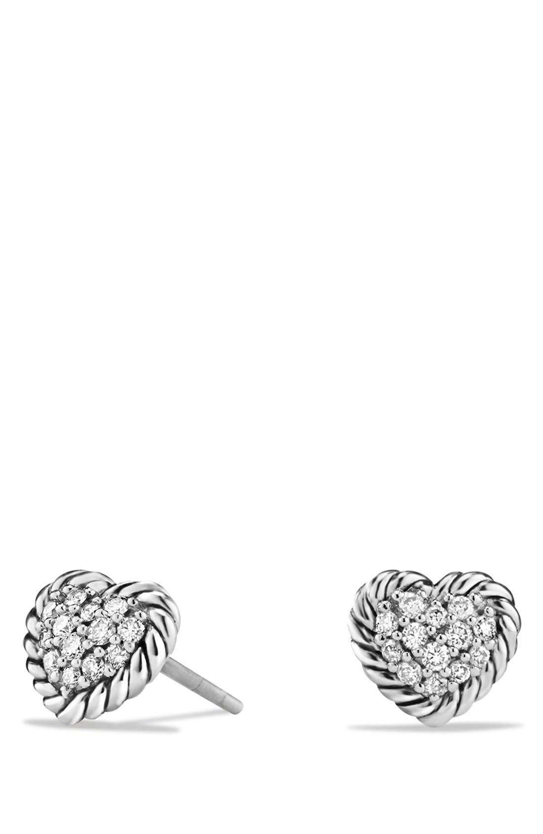 DAVID YURMAN,                             'Châtelaine' Heart Earrings with Diamonds,                             Main thumbnail 1, color,                             SILVER