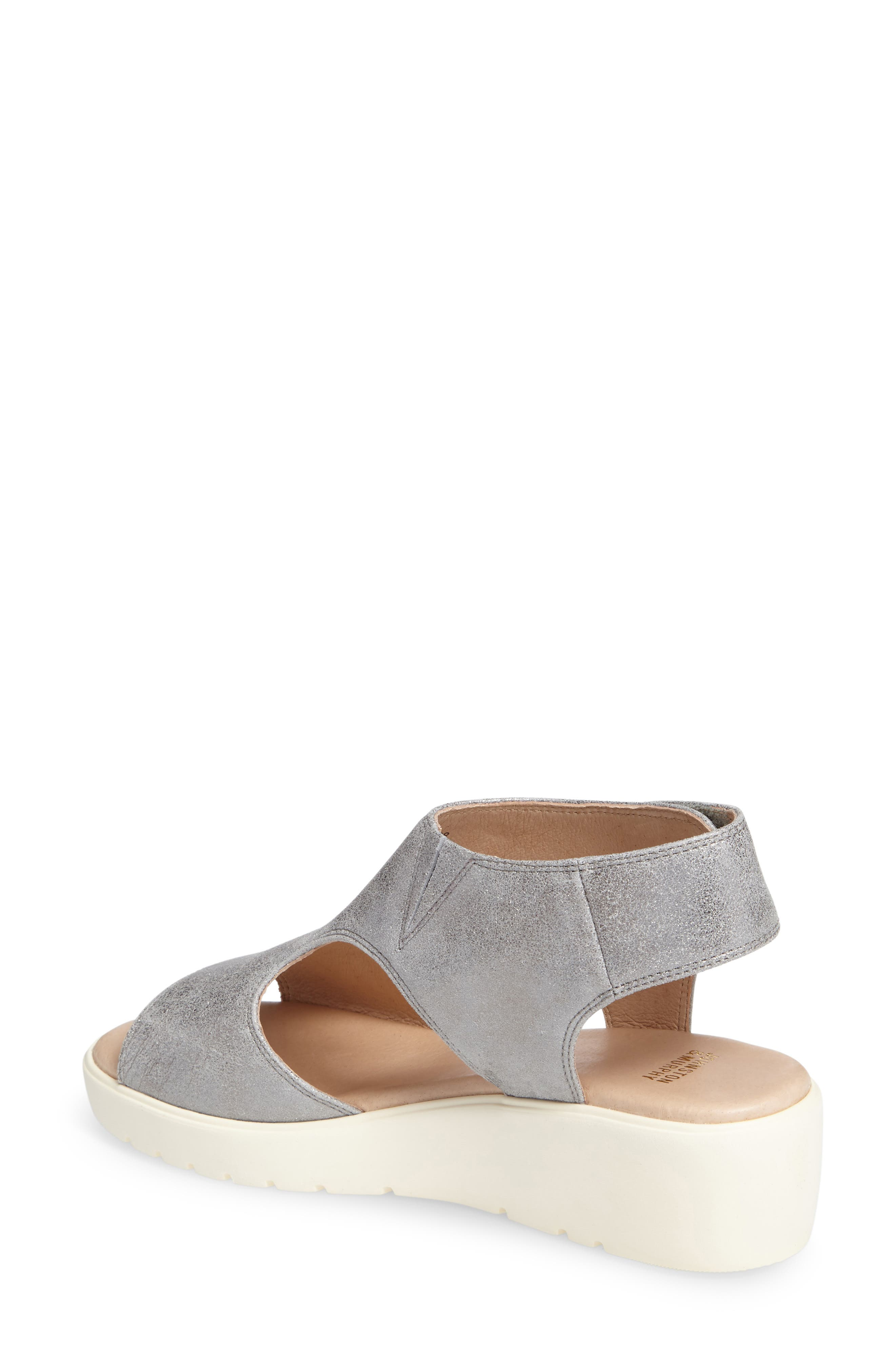 Camilla Slingback Wedge Sandal,                             Alternate thumbnail 2, color,                             SILVER METALLIC SUEDE