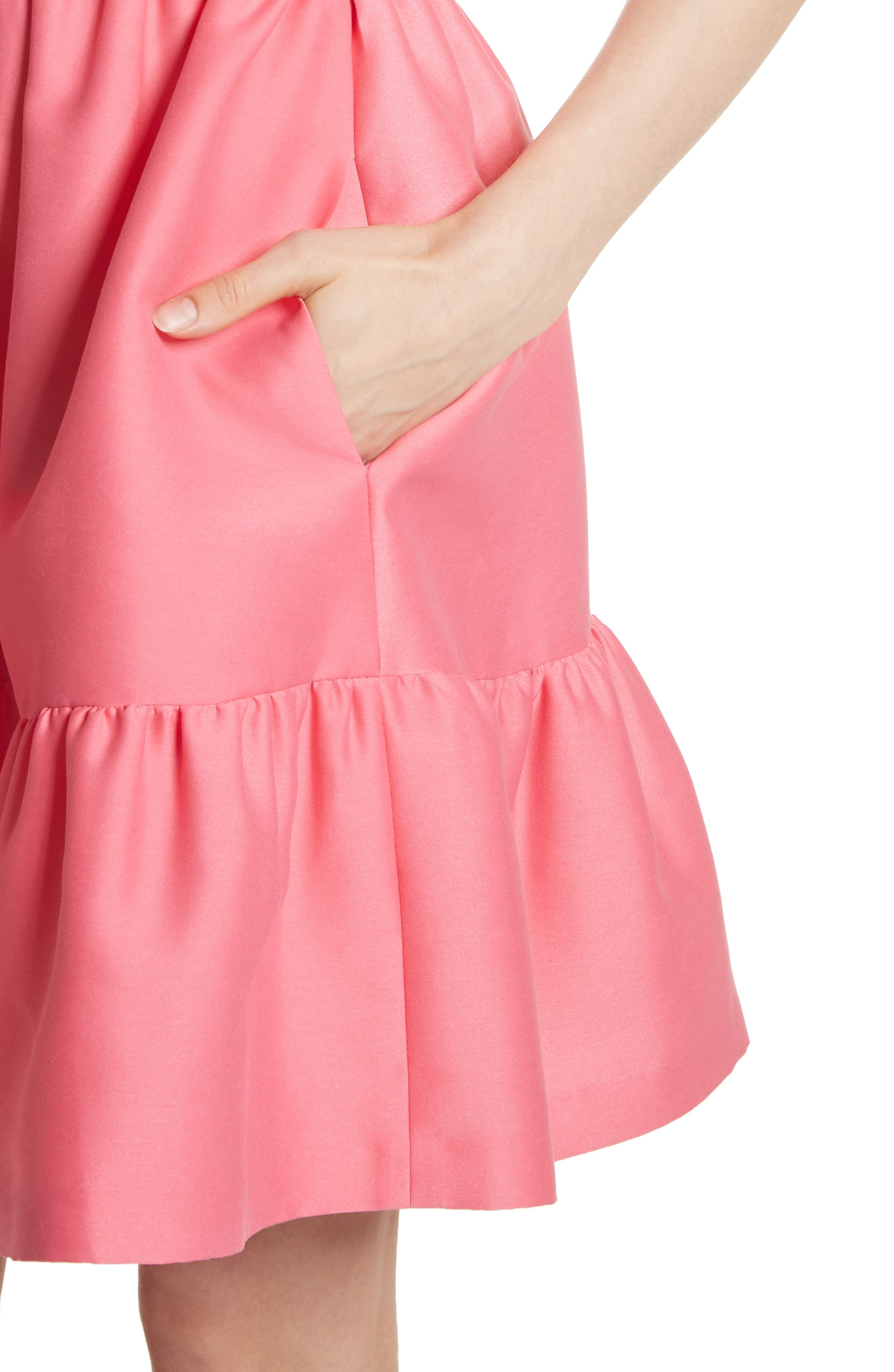 embellished mikado fit-and-flare dress,                             Alternate thumbnail 4, color,                             682