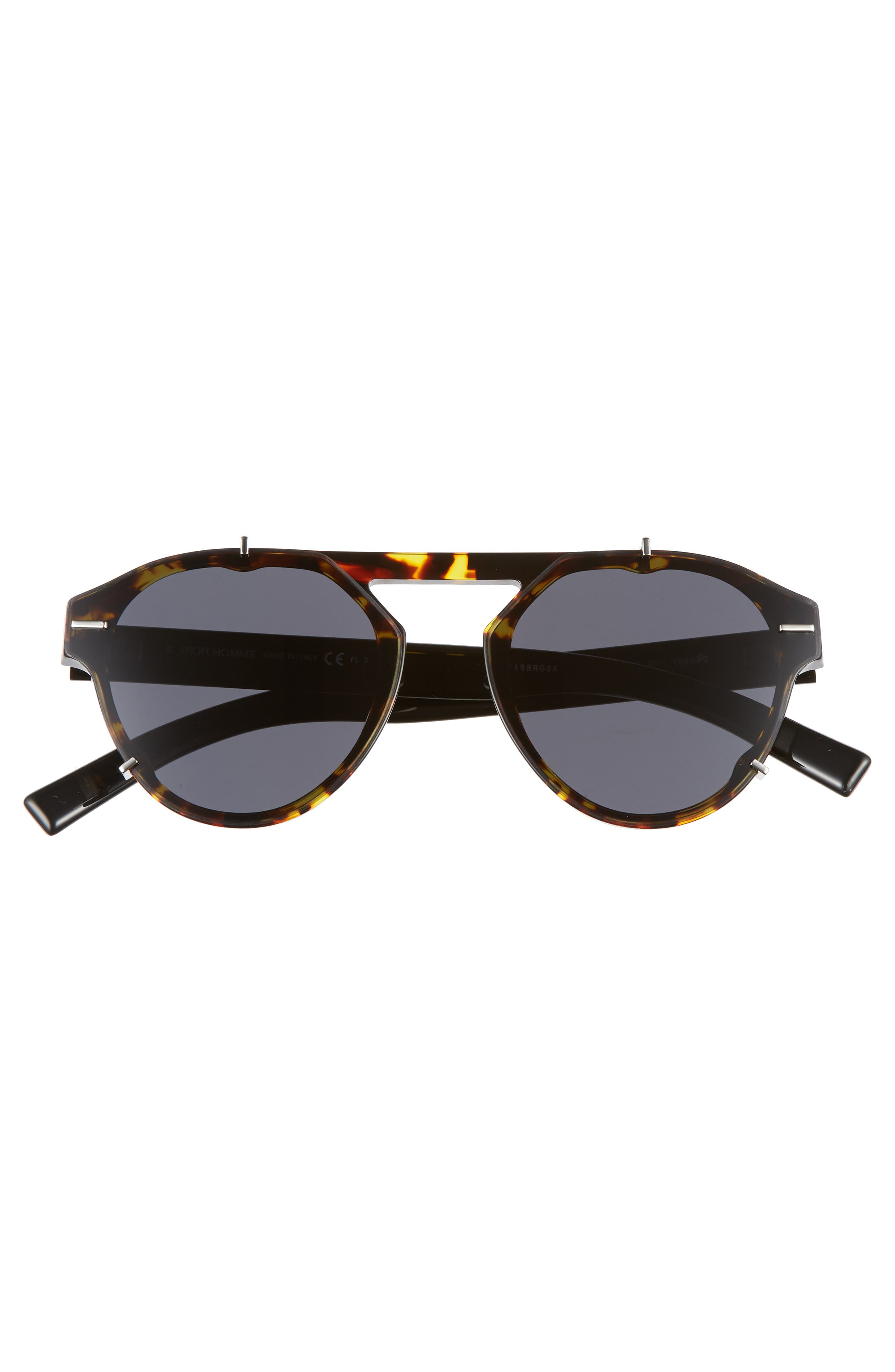 62mm Round Sunglasses,                             Alternate thumbnail 3, color,                             BLACK