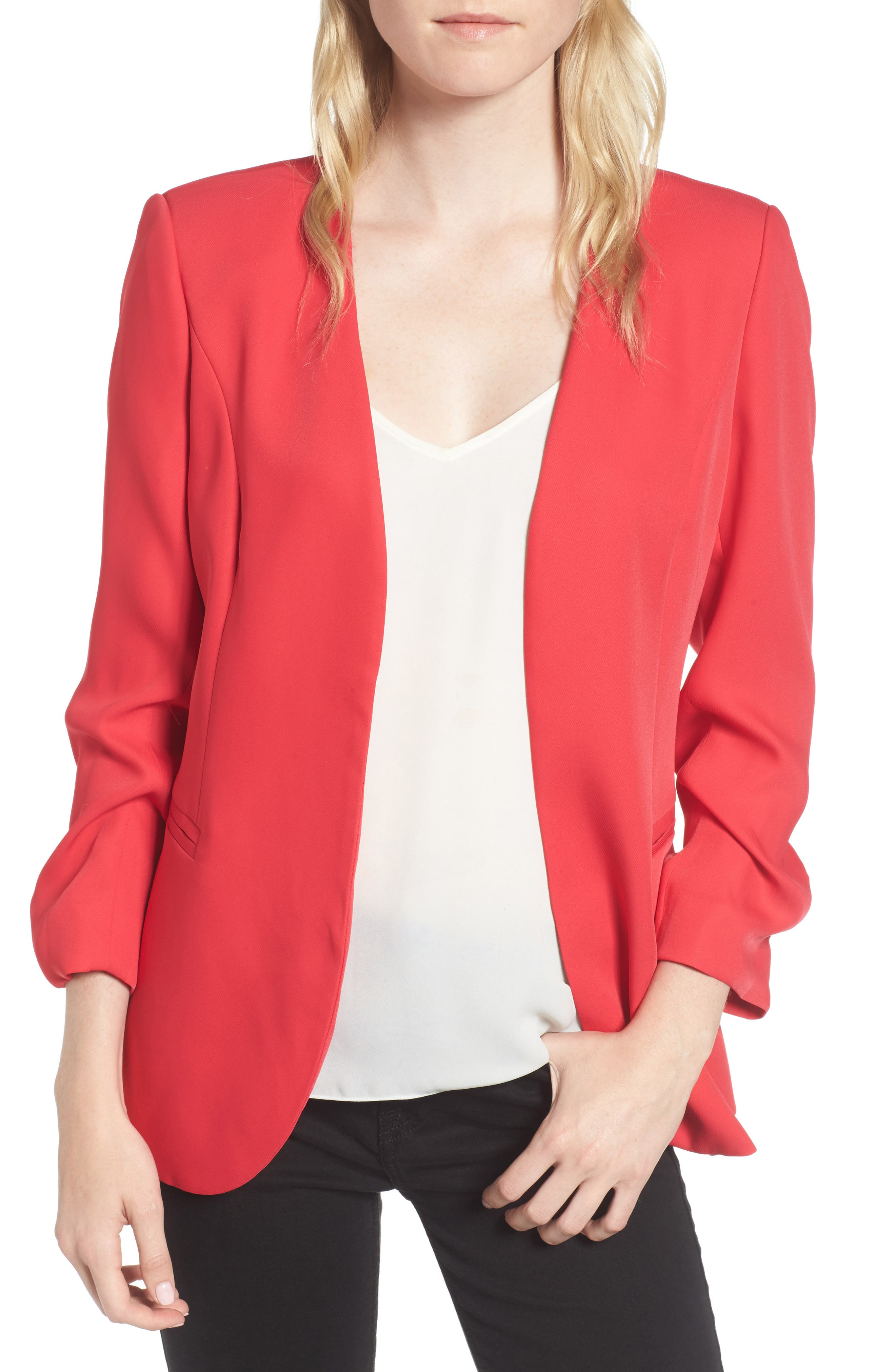 Ruched Sleeve Blazer,                             Main thumbnail 2, color,