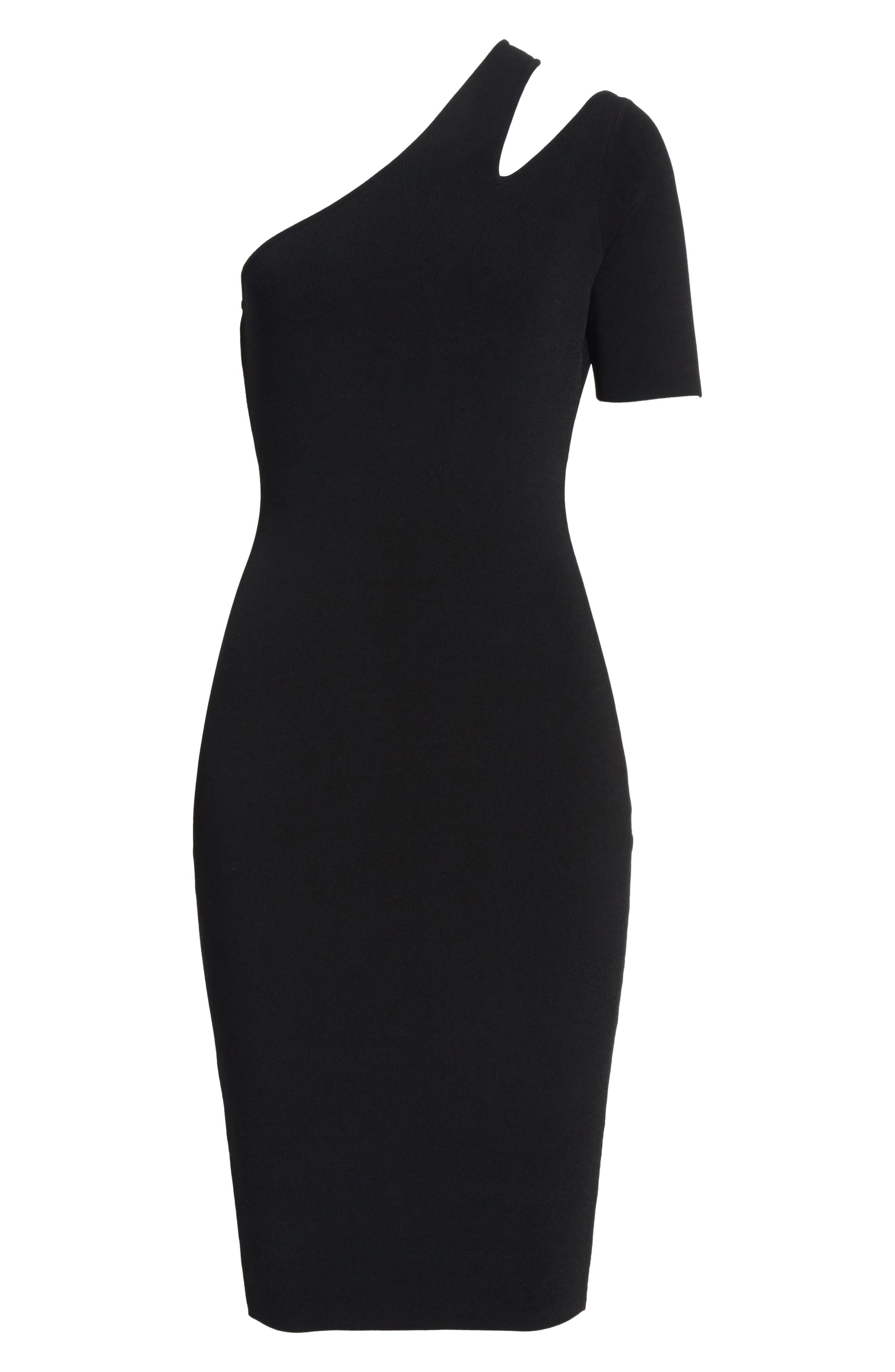 Sliced One-Shoulder Sheath Dress,                             Alternate thumbnail 6, color,                             001