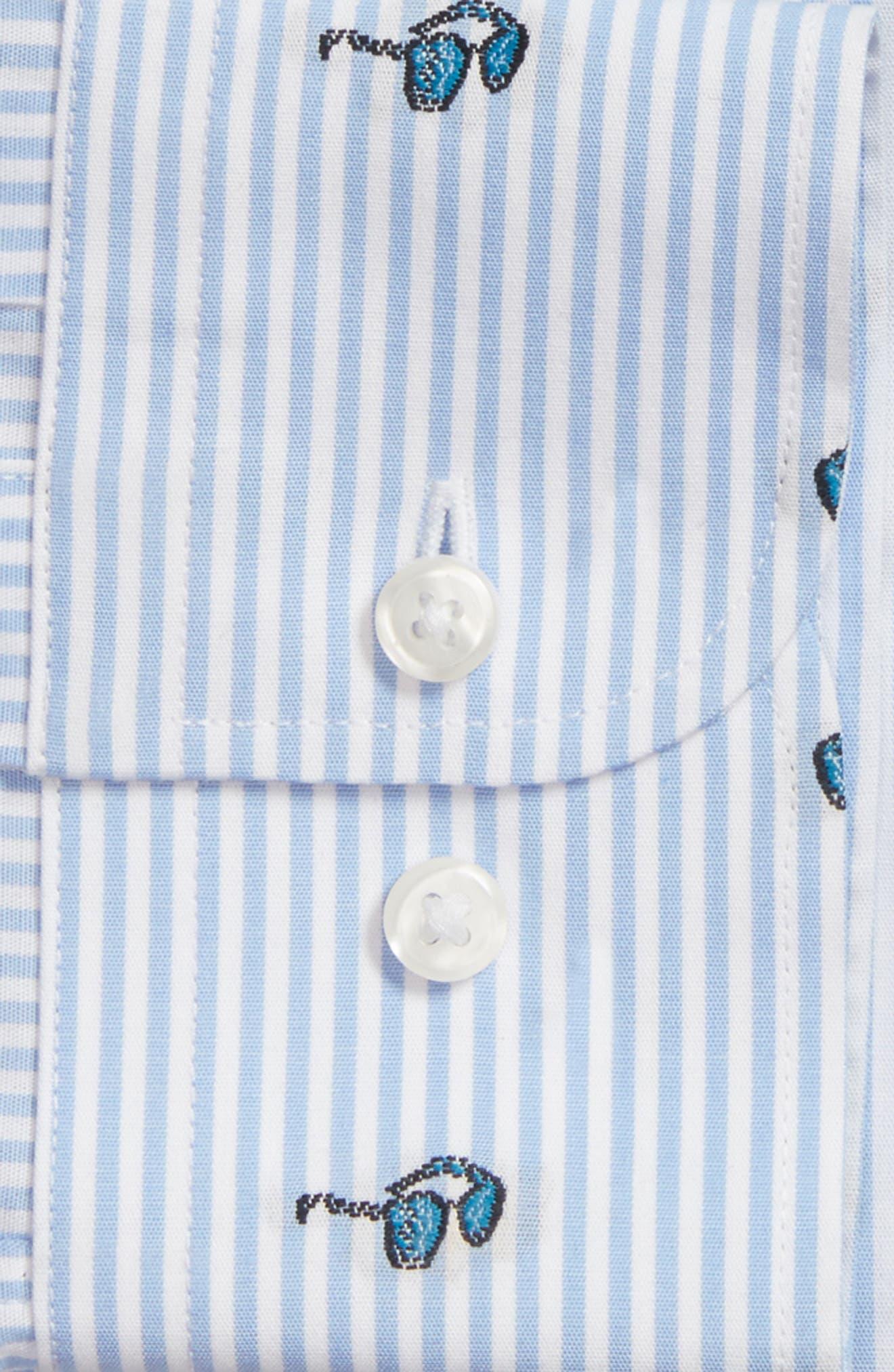 Trim Fit Sunglasses Print Dress Shirt,                             Alternate thumbnail 4, color,                             450