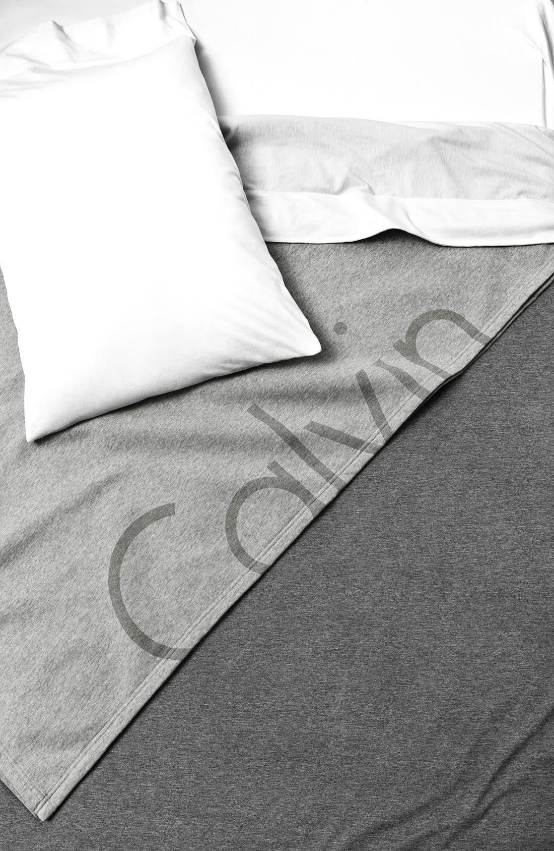 Calvin Klein Modern Cotton Collection Cotton & Modal Flat Sheet,                             Alternate thumbnail 3, color,                             CHARCOAL