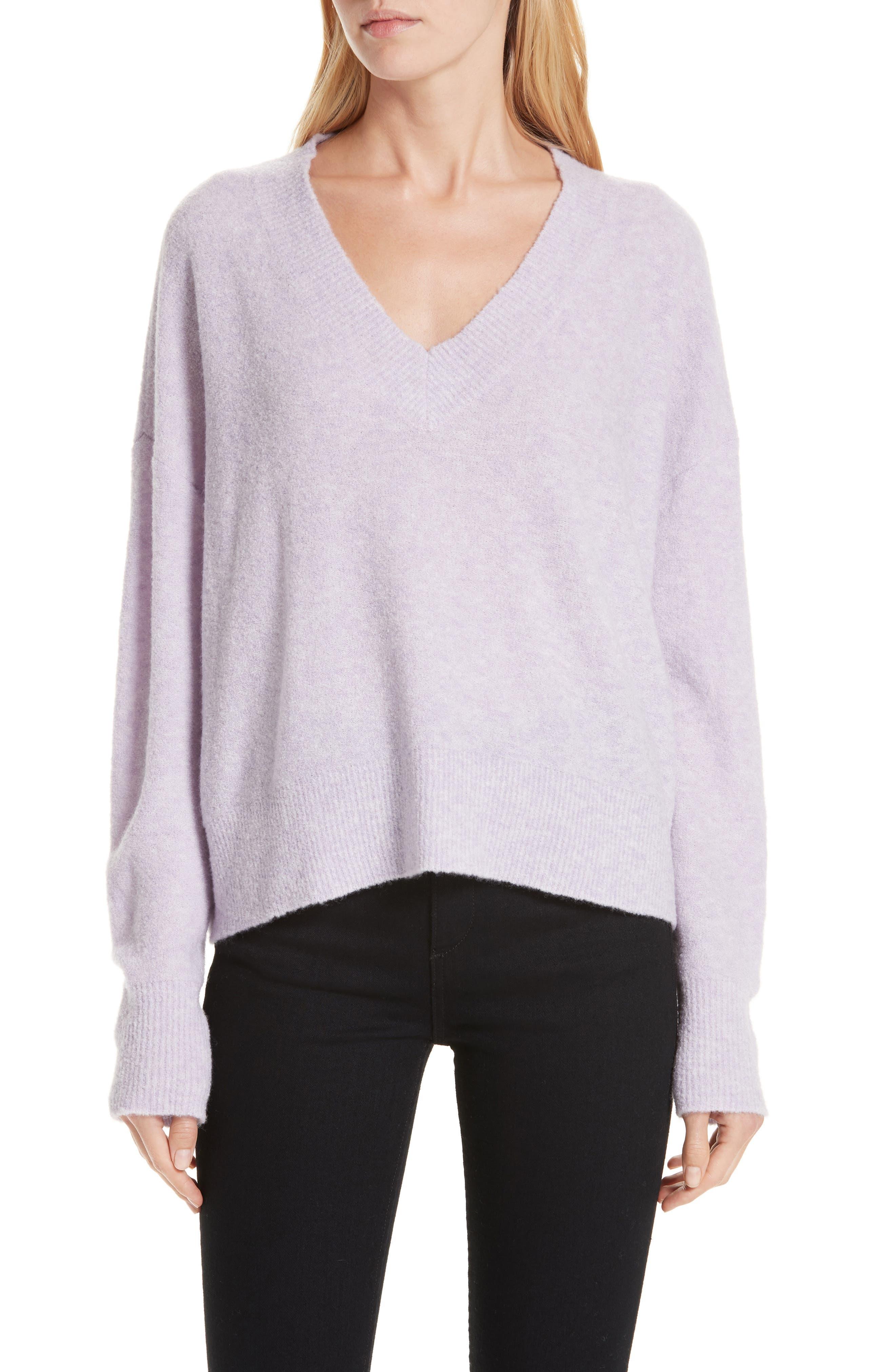 Cashmere Blend Bouclé Sweater,                         Main,                         color, PURPLE HEIRLOOM HEATHER