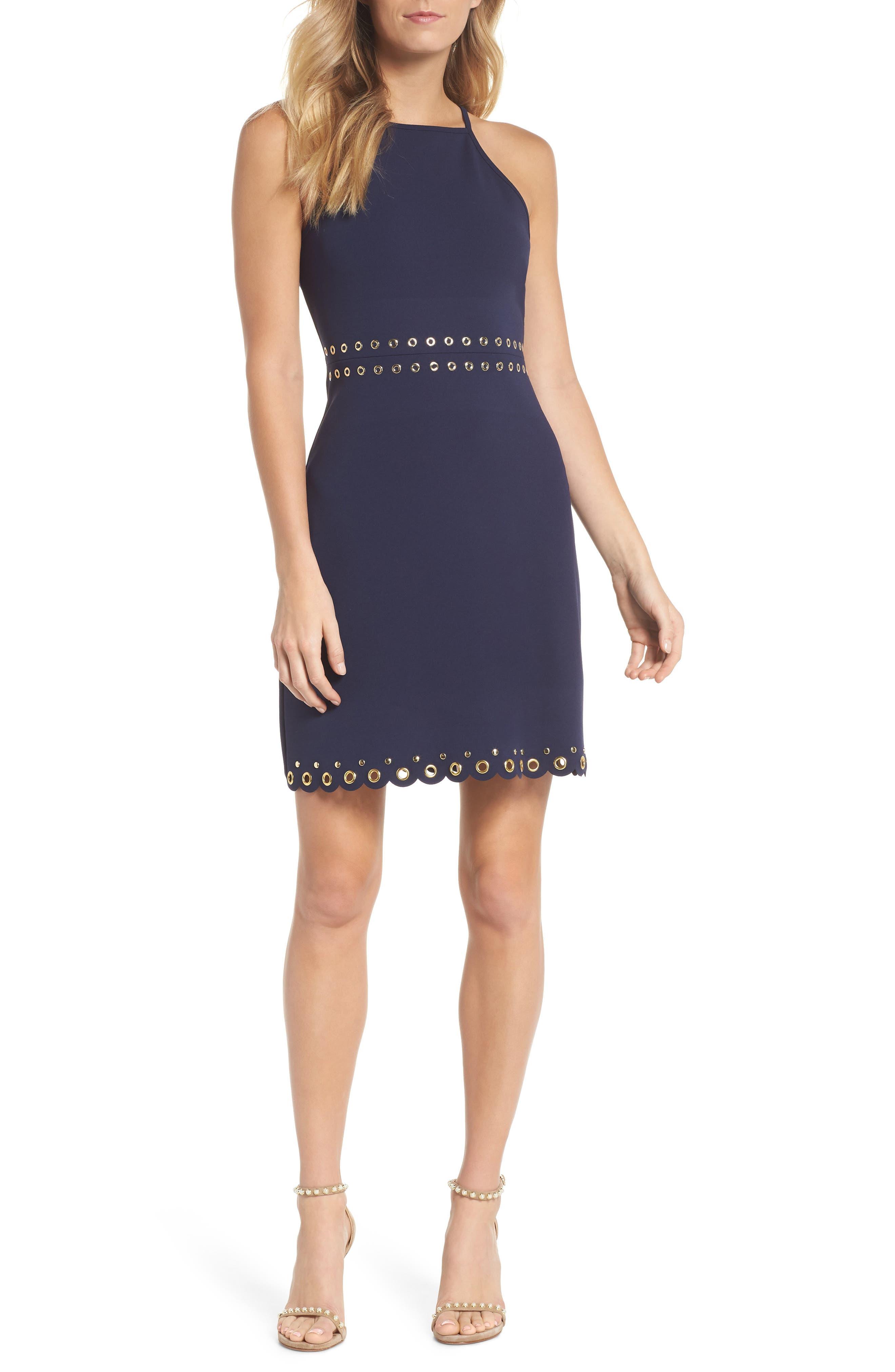 Grommet Trim Scallop Hem Sheath Dress,                         Main,                         color, 456