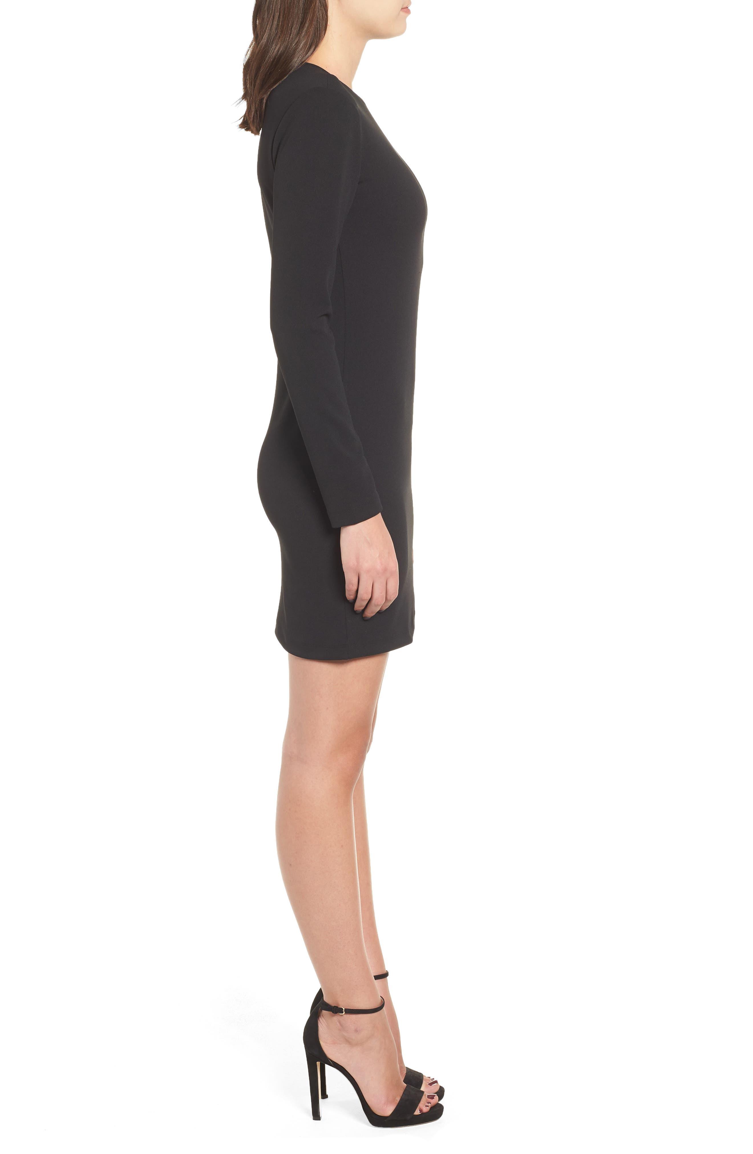 Long Sleeve Body-Con Dress,                             Alternate thumbnail 3, color,                             001