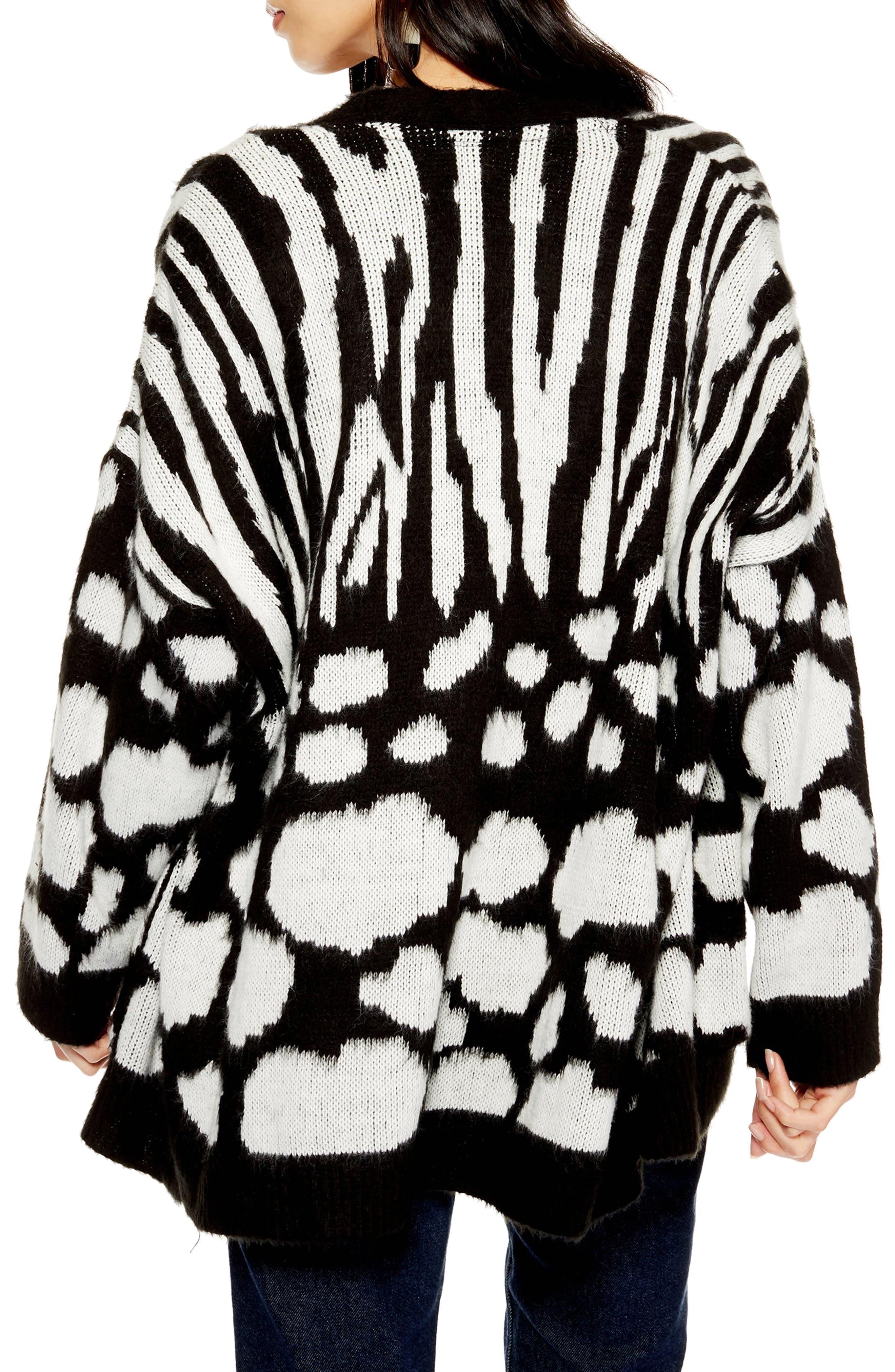 Zebra Mix Cardigan,                             Alternate thumbnail 2, color,                             BLACK MULTI