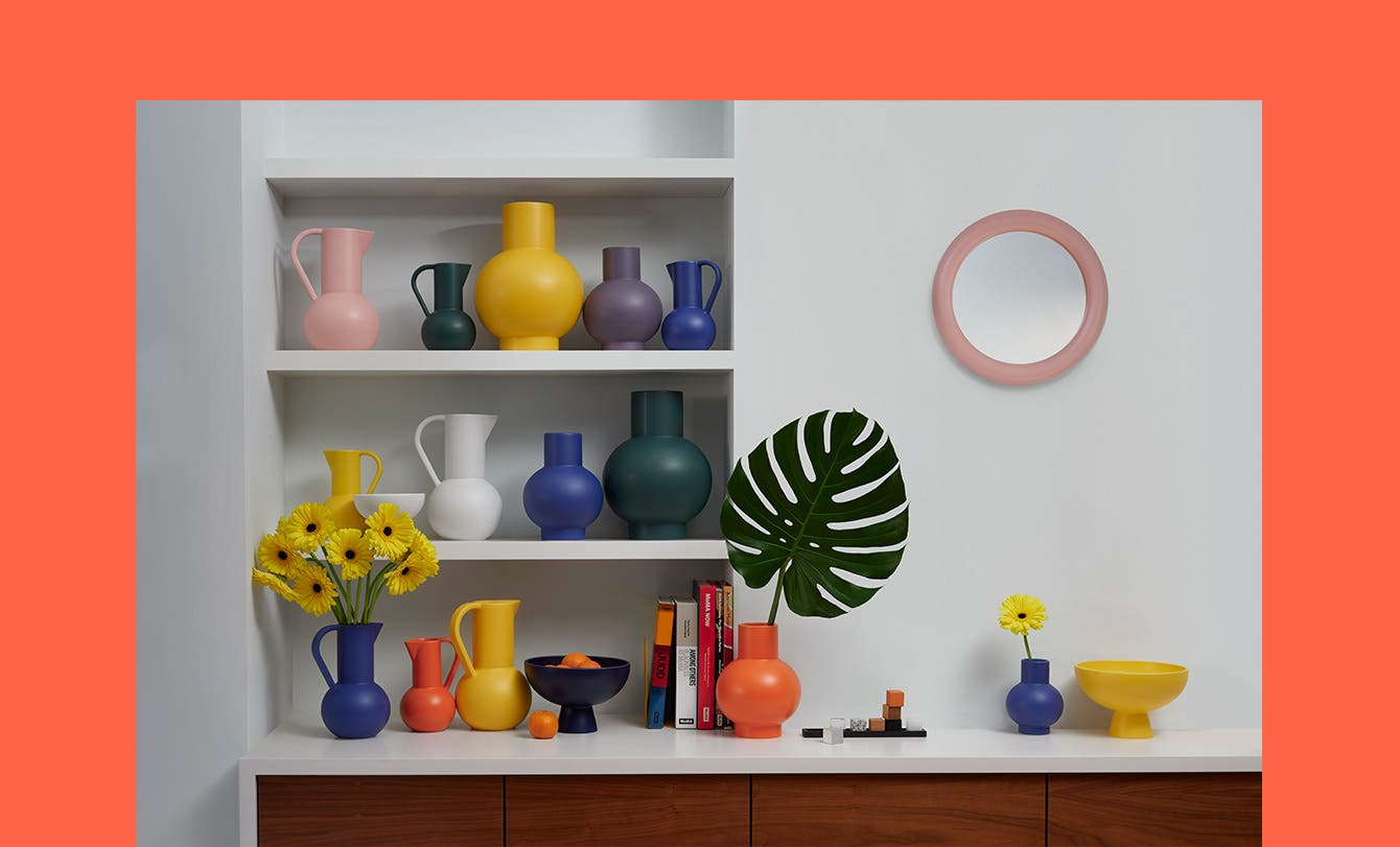 Colorful vases and bowls.