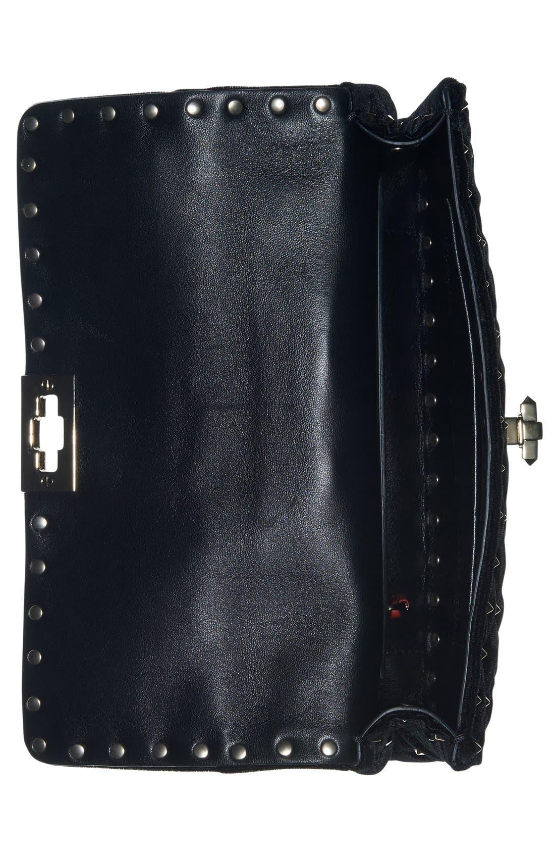 Rockstud Quilted Leather Shoulder Bag,                             Alternate thumbnail 3, color,                             NERO